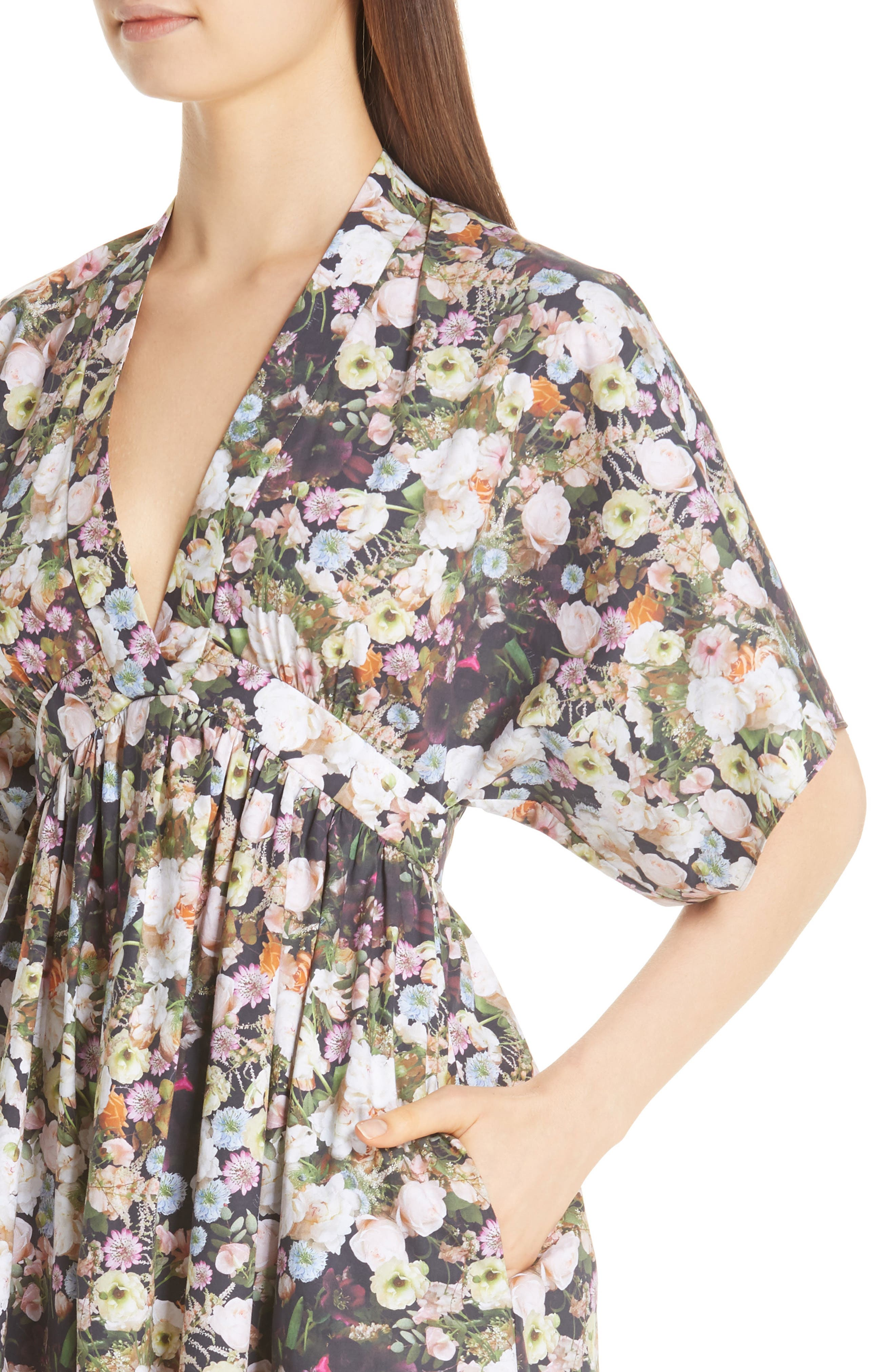 Floral Print Poplin Dress,                             Alternate thumbnail 4, color,                             BLACK FLORAL