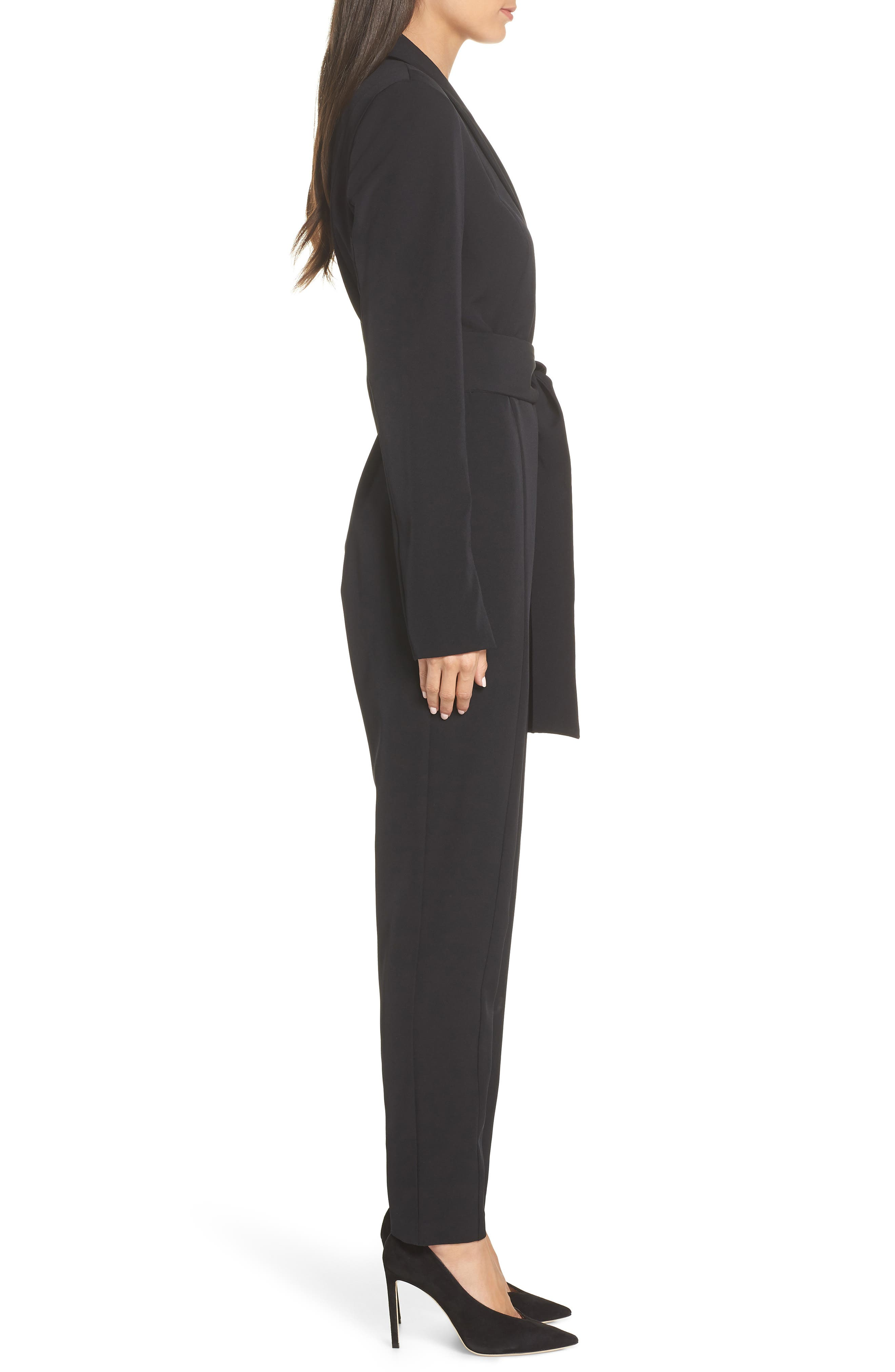 Tuxedo Jumpsuit,                             Alternate thumbnail 3, color,                             BLACK