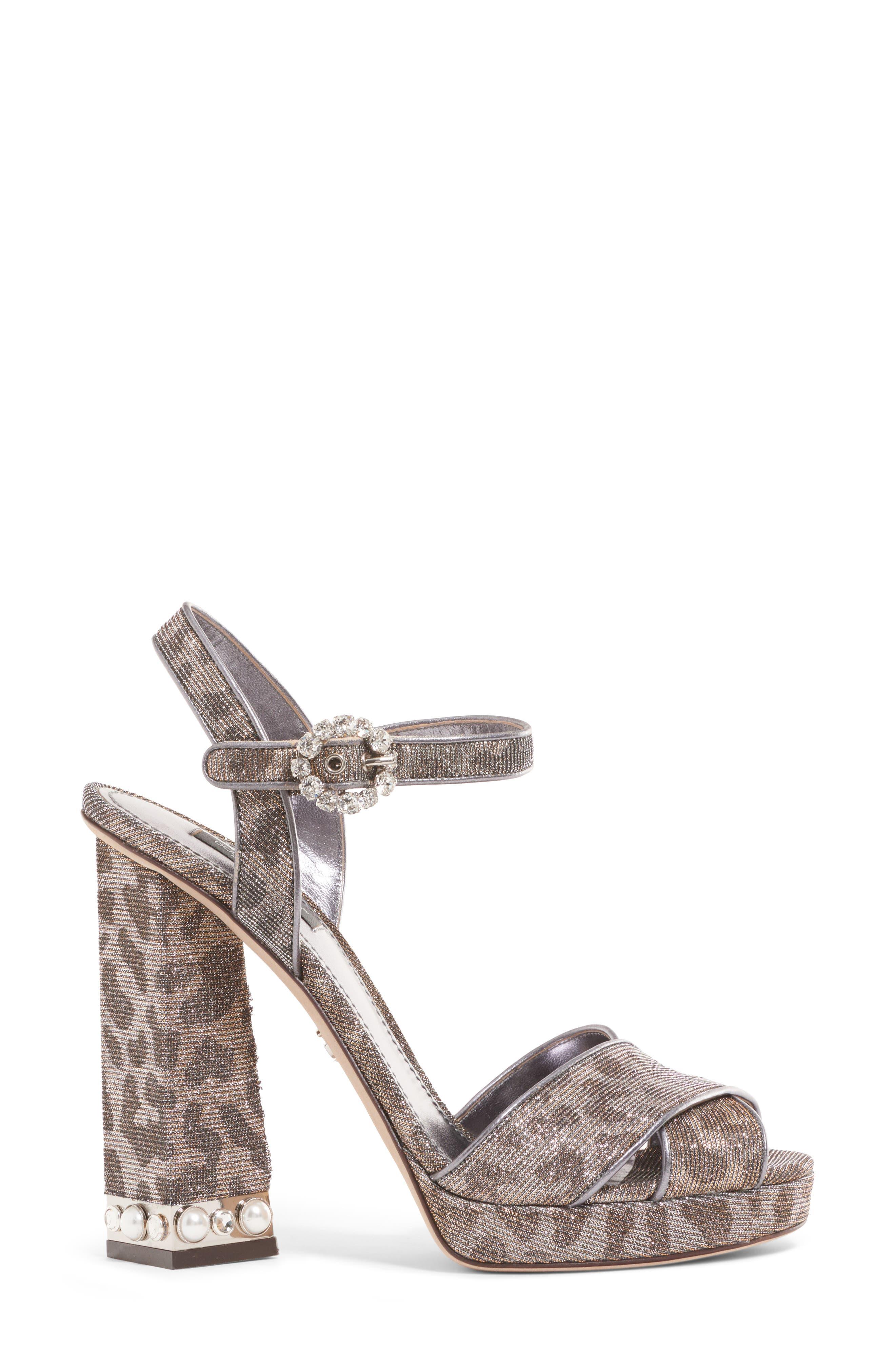 Metallic Leopard Print Sandal,                             Alternate thumbnail 3, color,                             SILVER/ GOLD