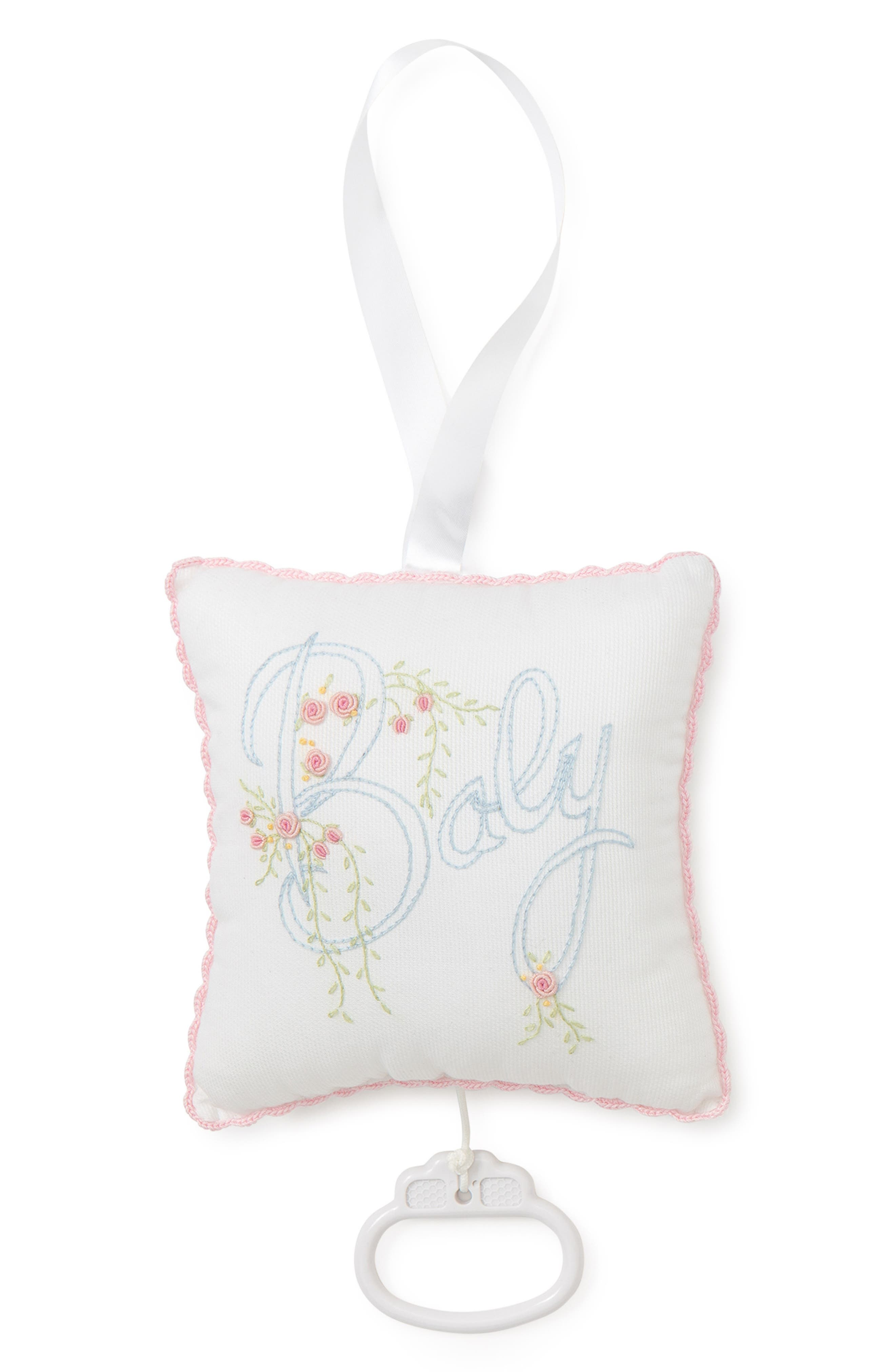 Embroidered Musical Pillow,                             Main thumbnail 1, color,                             WHITE