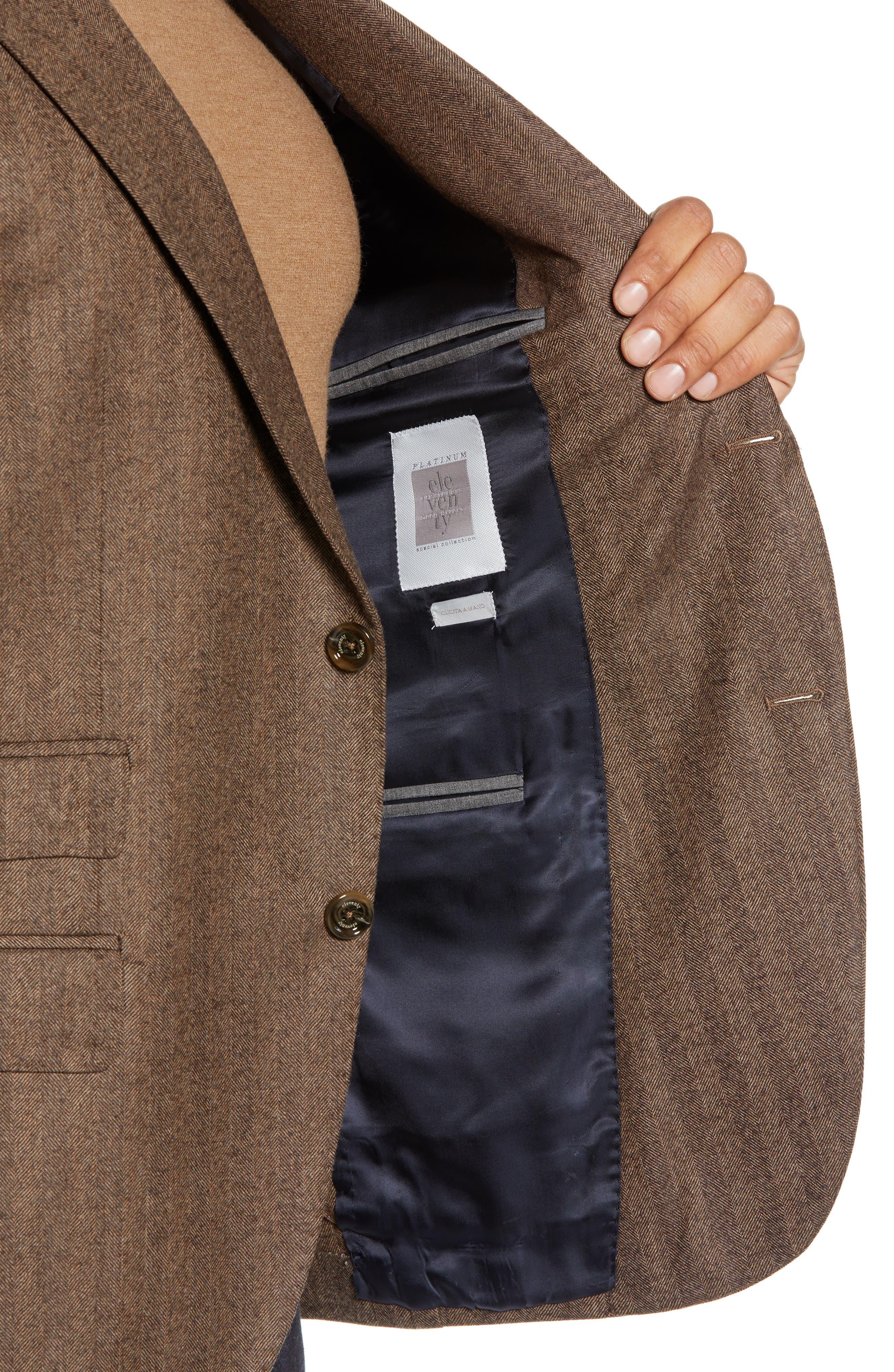 Trim Fit Herringbone Wool Sport Coat,                             Alternate thumbnail 4, color,                             BROWN