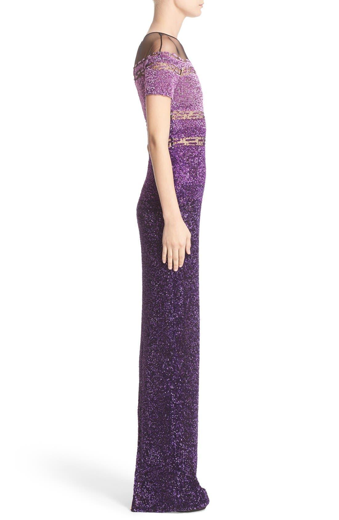Signature Sequin Short Sleeve Column Gown,                             Alternate thumbnail 4, color,