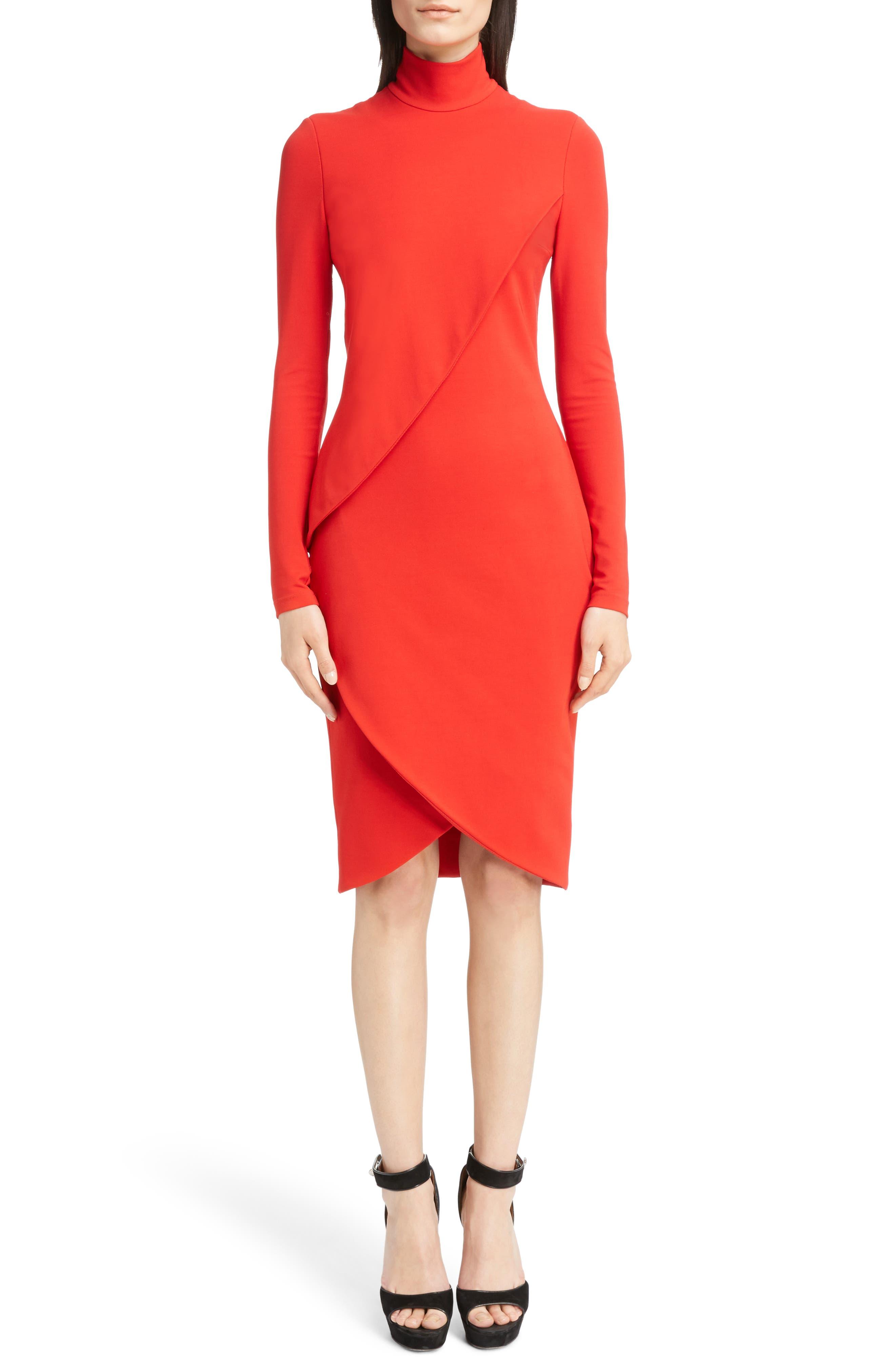 Jersey Turtleneck Tulip Hem Dress,                             Main thumbnail 1, color,                             620