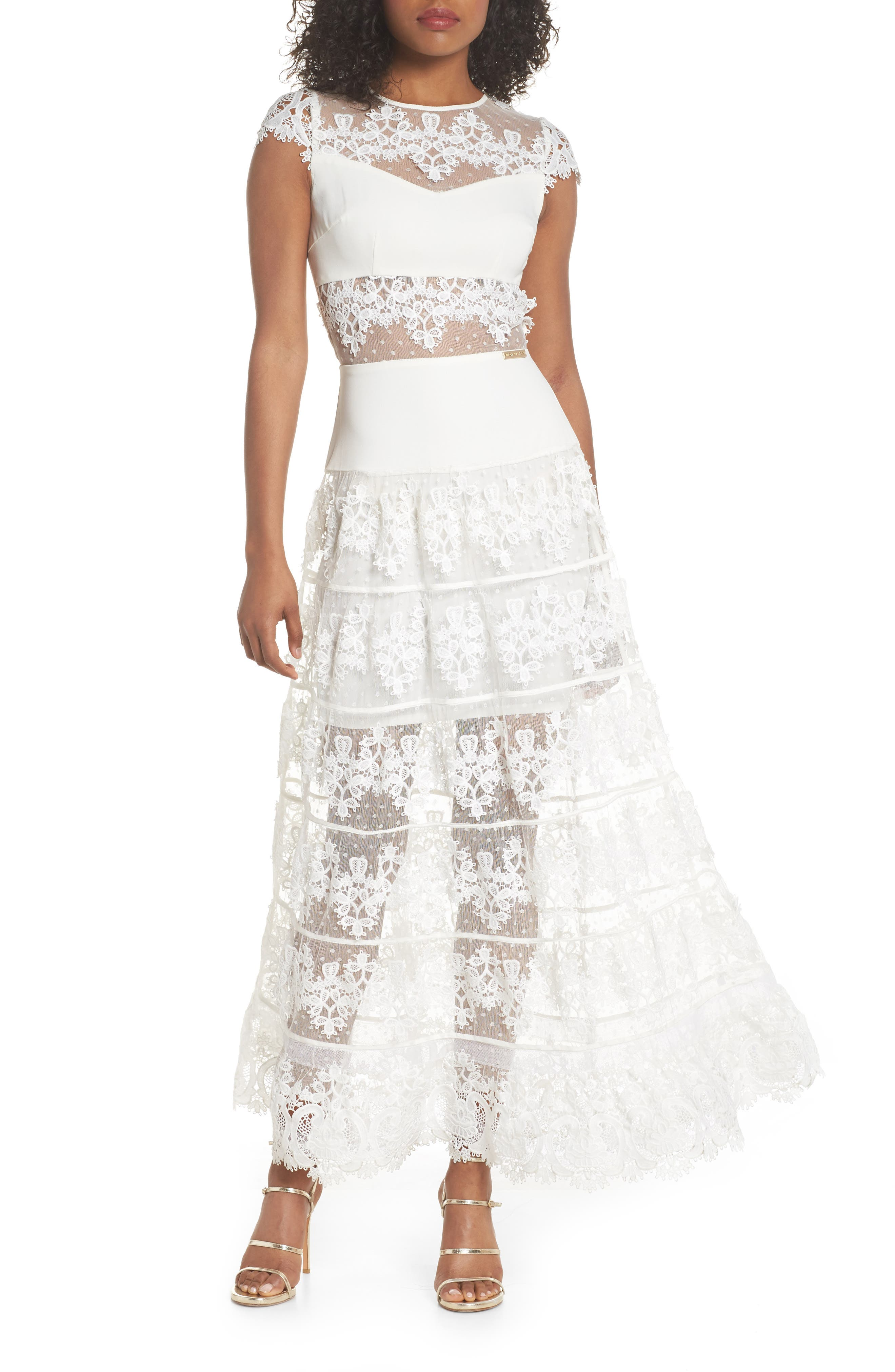 Flamenco Lace Inset Gown,                             Main thumbnail 1, color,                             WHITE