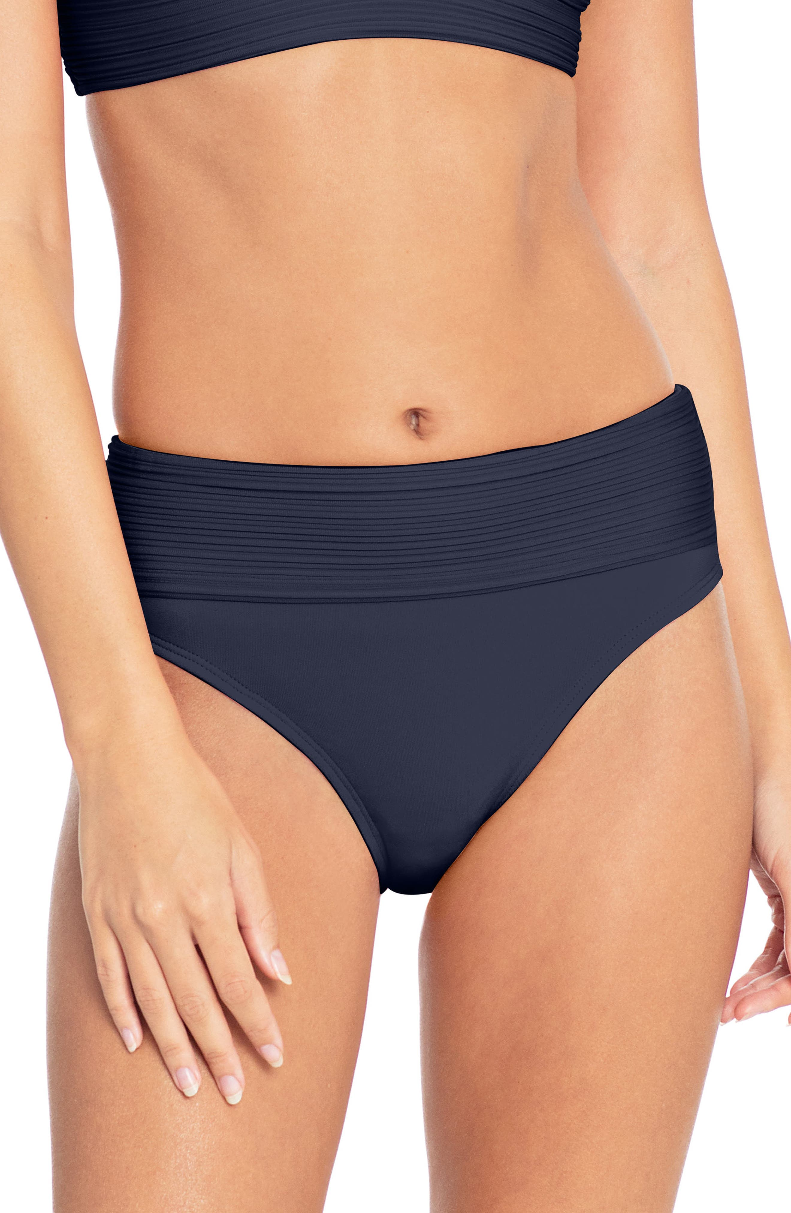 Robin Piccone Lily Banded Bikini Bottoms, Blue