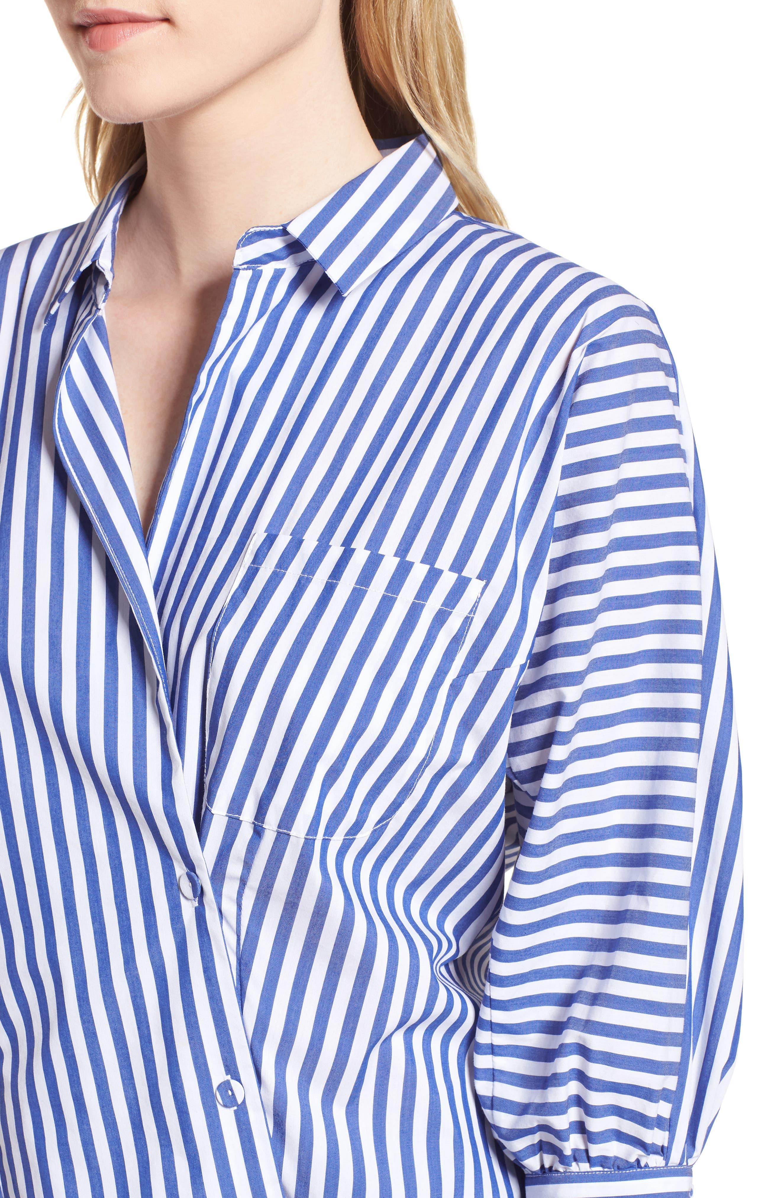 Asymmetrical Stripe Blouse,                             Alternate thumbnail 4, color,                             495