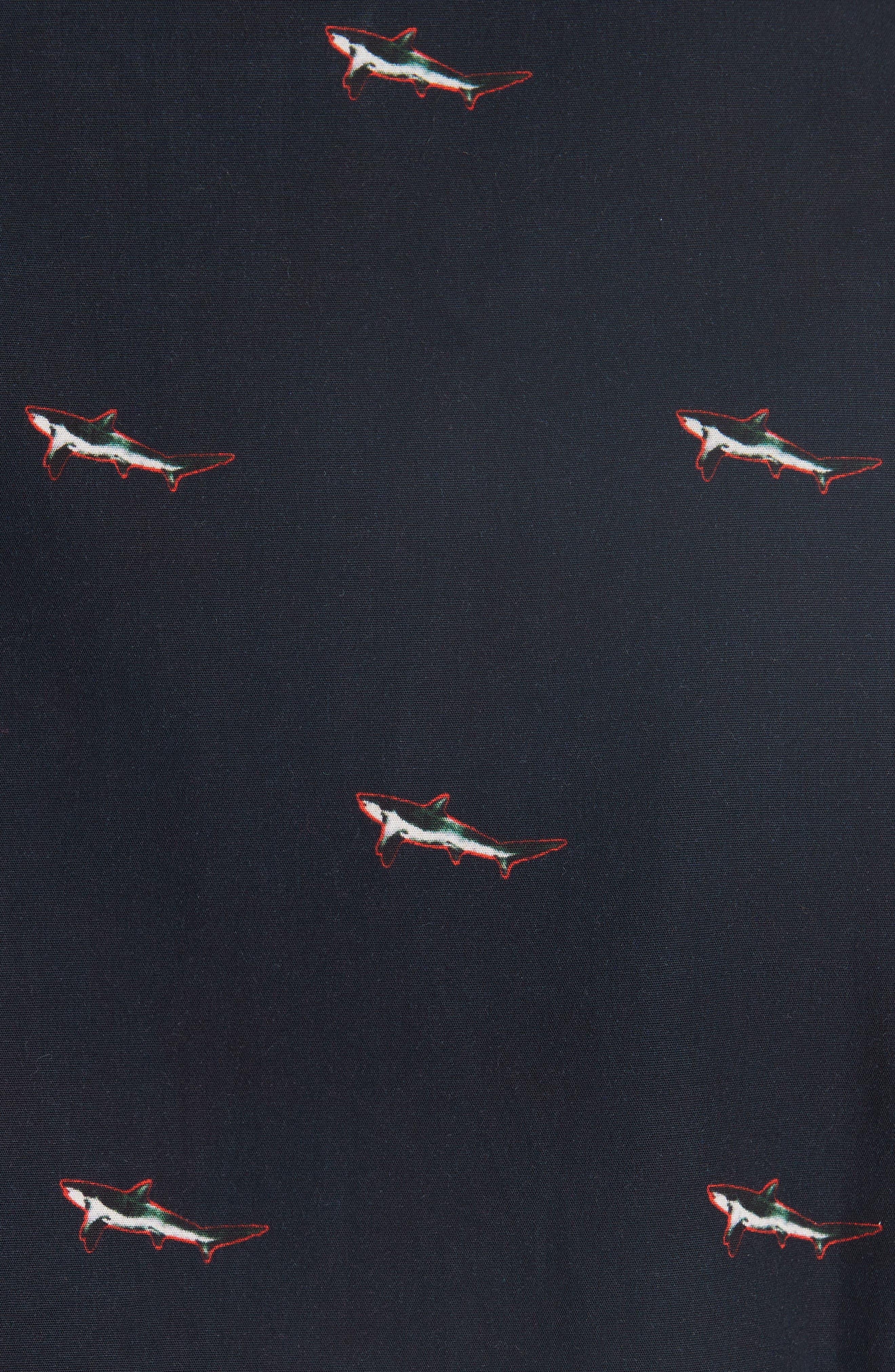 Shark Print Sport Shirt,                             Alternate thumbnail 5, color,                             419