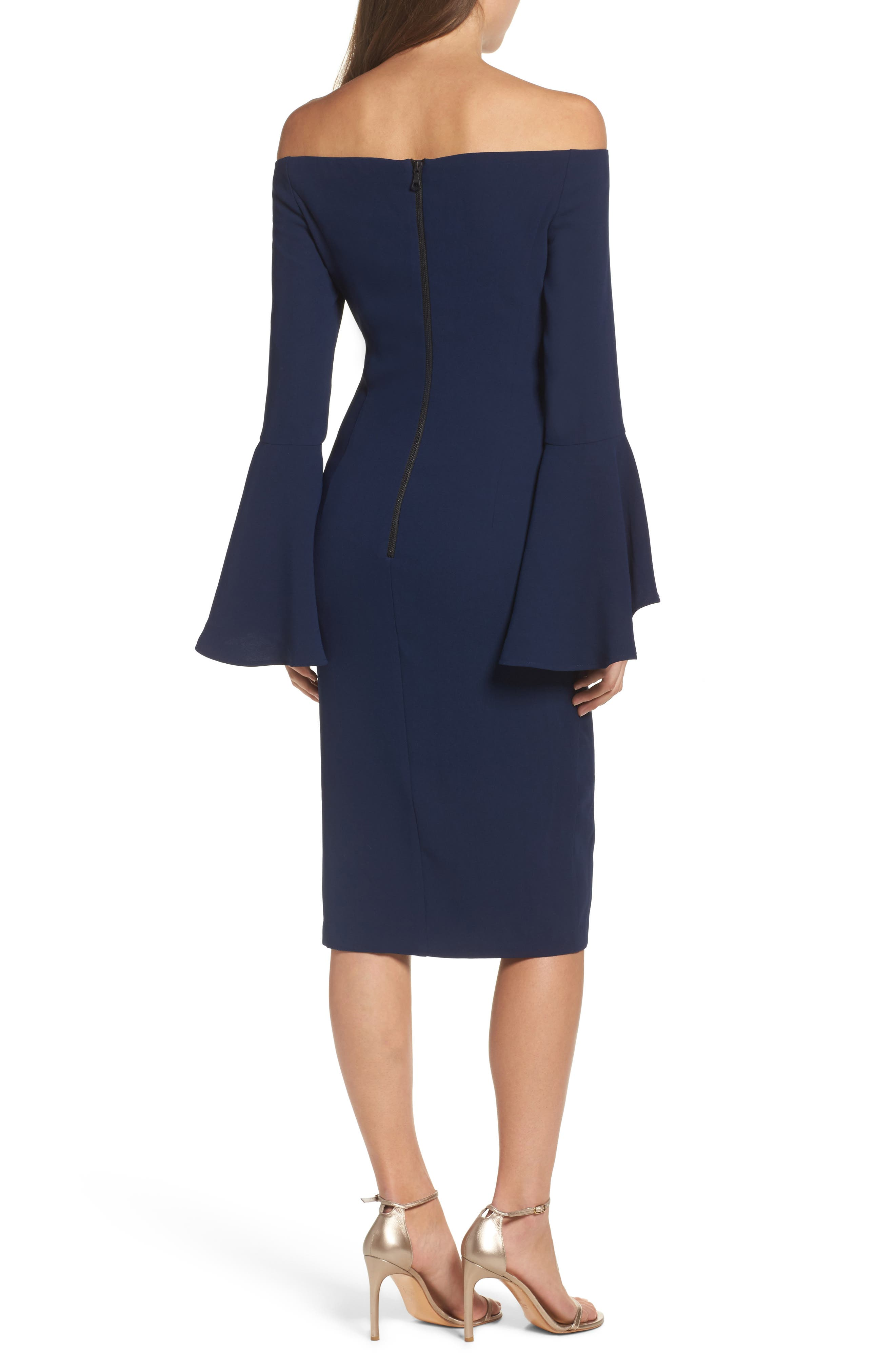'Solange' Off the Shoulder Midi Dress,                             Alternate thumbnail 8, color,