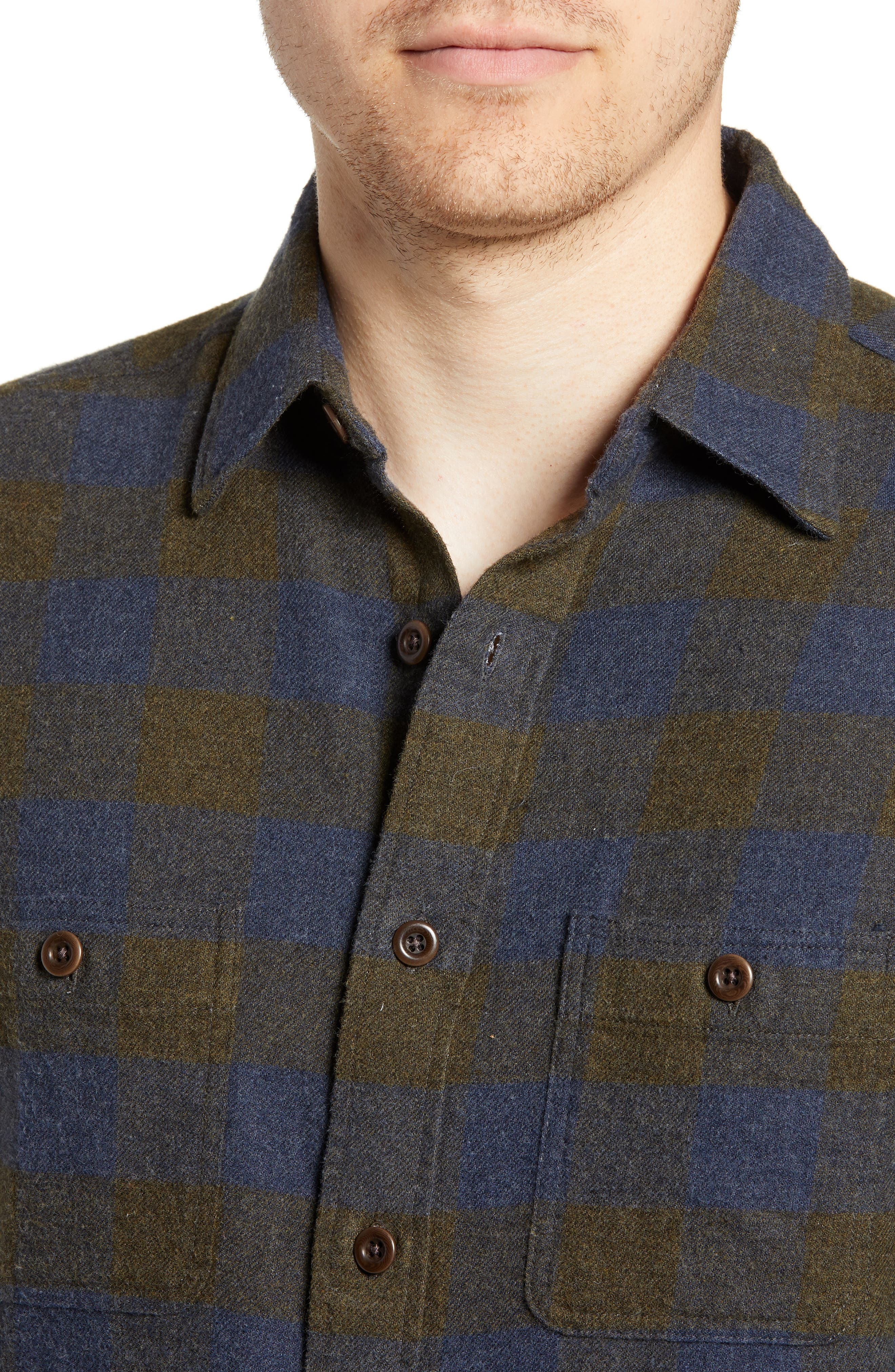 Seasons Check Flannel Shirt,                             Alternate thumbnail 2, color,                             NAVY OLIVE BUFFALO