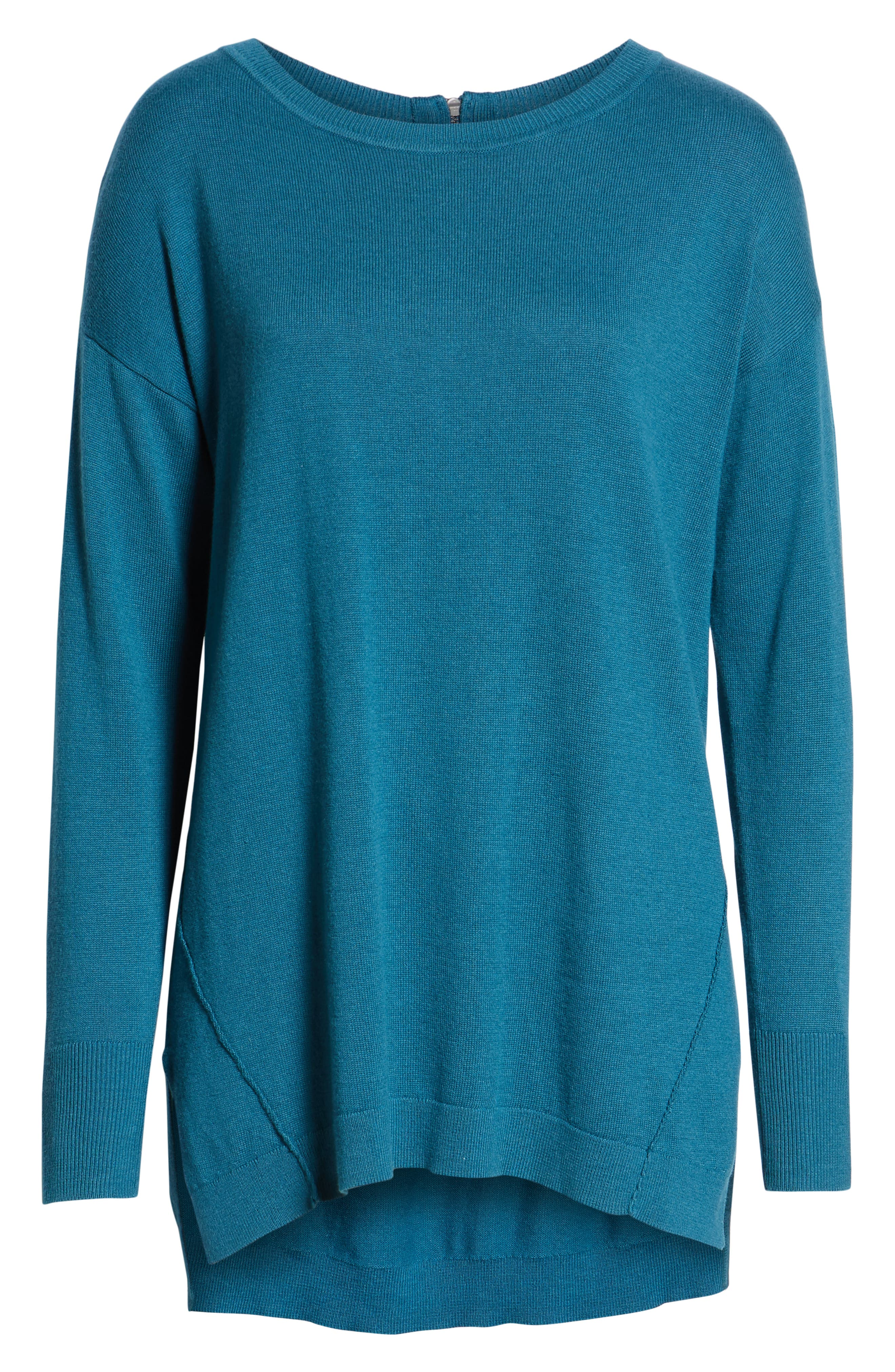 Zip Back High/Low Tunic Sweater,                             Alternate thumbnail 6, color,                             TEAL CORAL