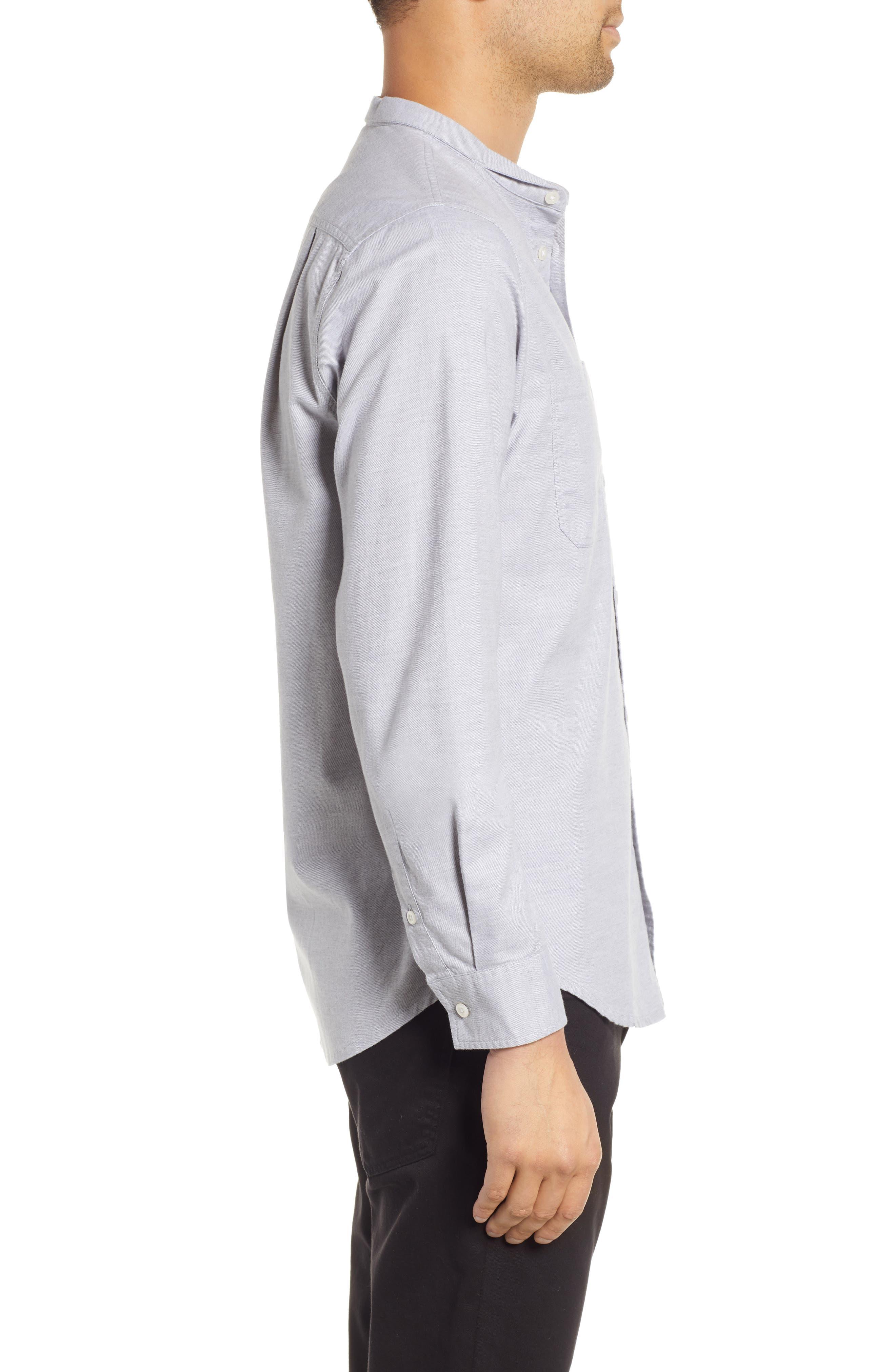 Rick Regular Fit Solid Sport Shirt,                             Alternate thumbnail 4, color,                             GREY MELANGE