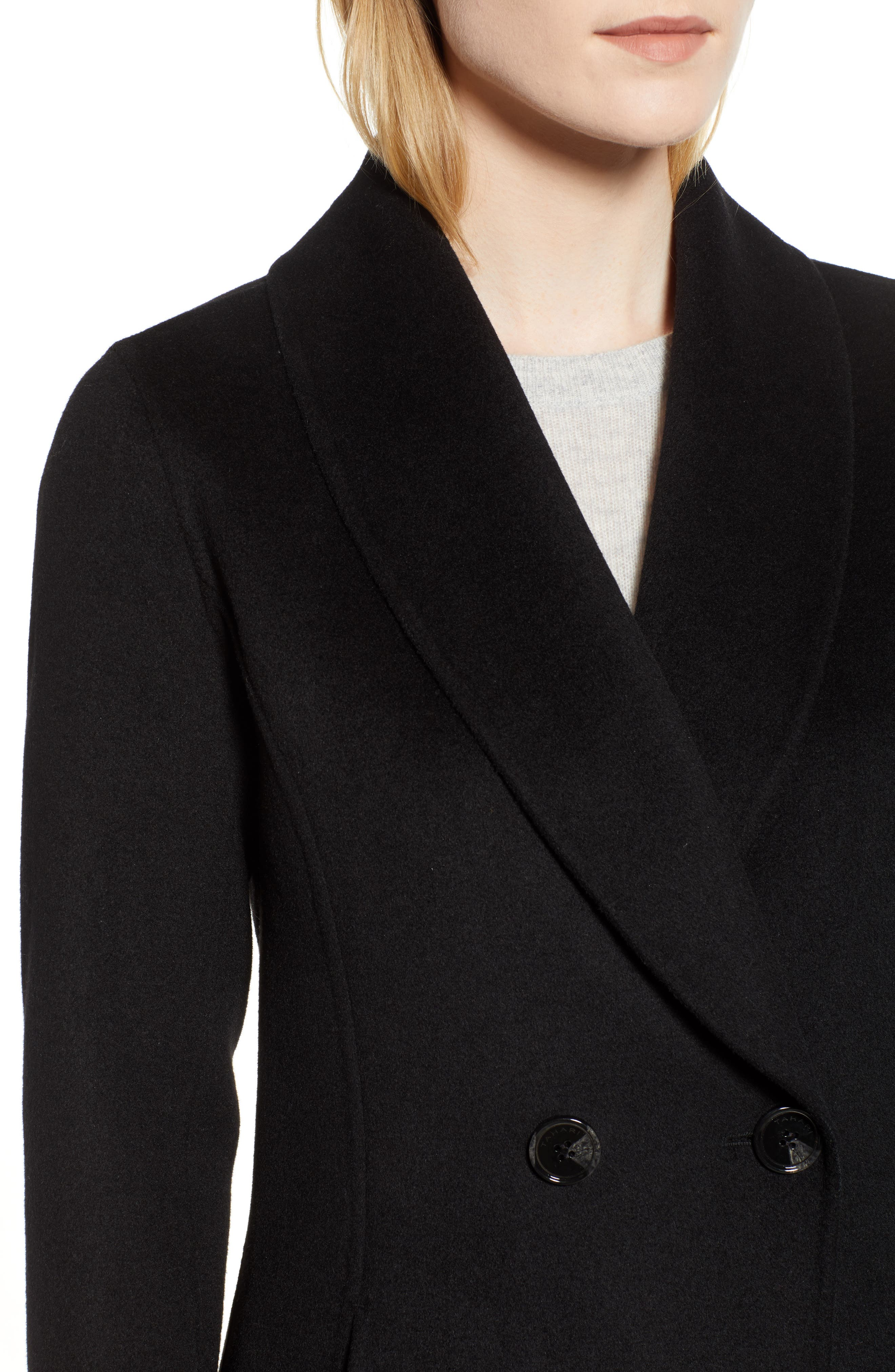 Caleigh Fitted Wool Blend Coat,                             Alternate thumbnail 4, color,                             BLACK