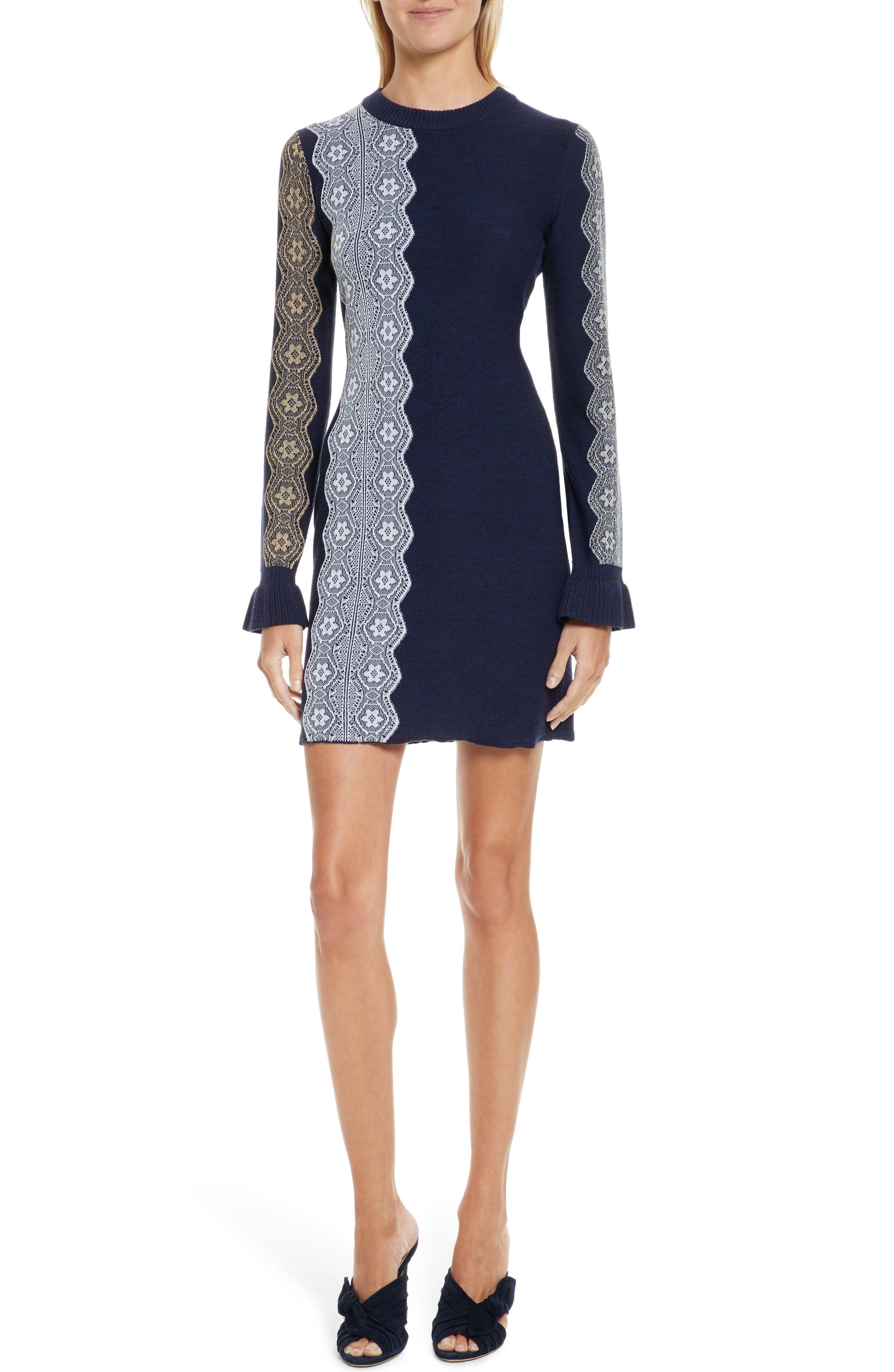 Intarsia Lace Wool Blend Dress,                             Main thumbnail 1, color,                             410