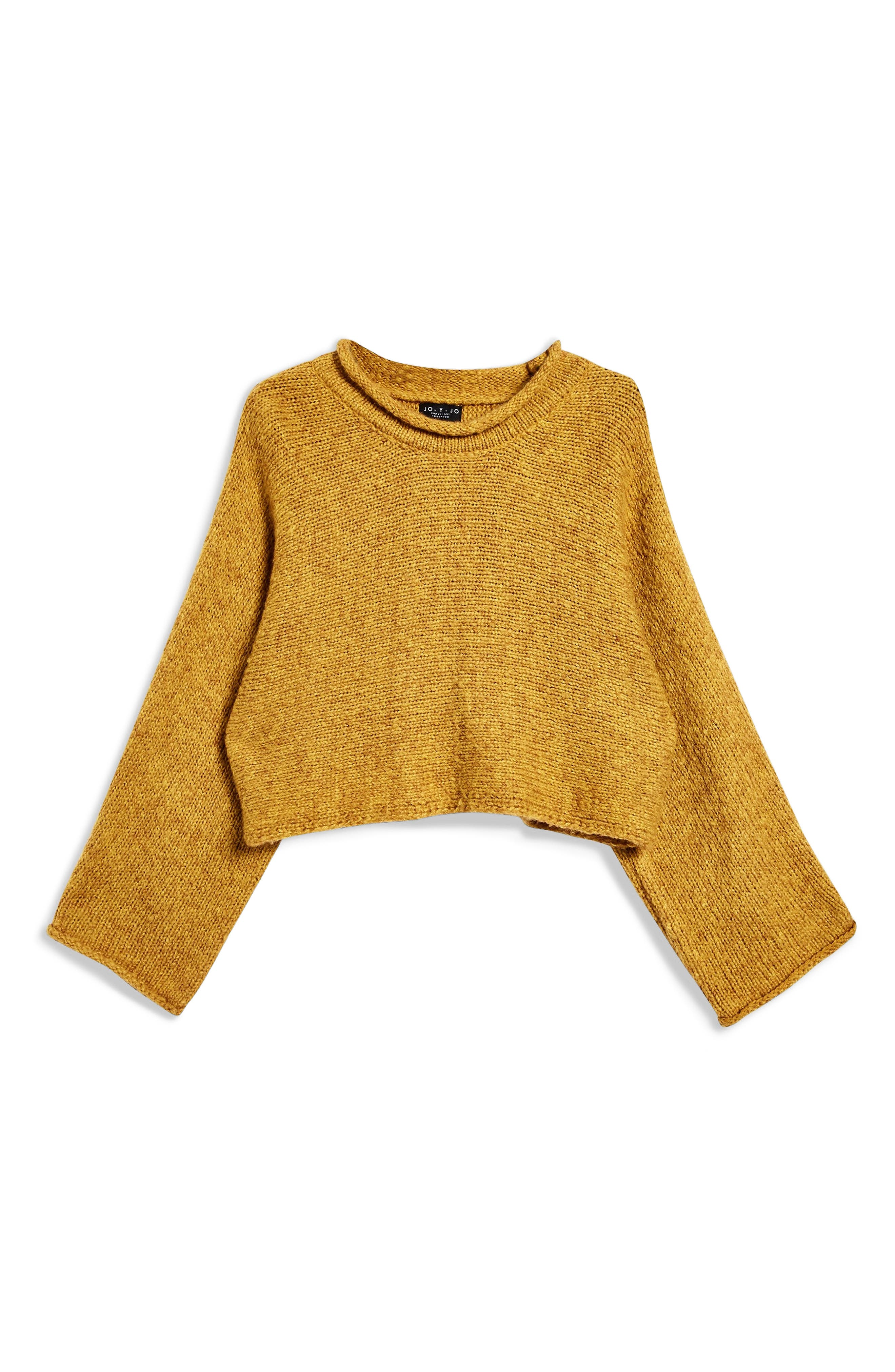 Punk Roll Neck Crop Sweater,                             Alternate thumbnail 4, color,                             MUSTARD
