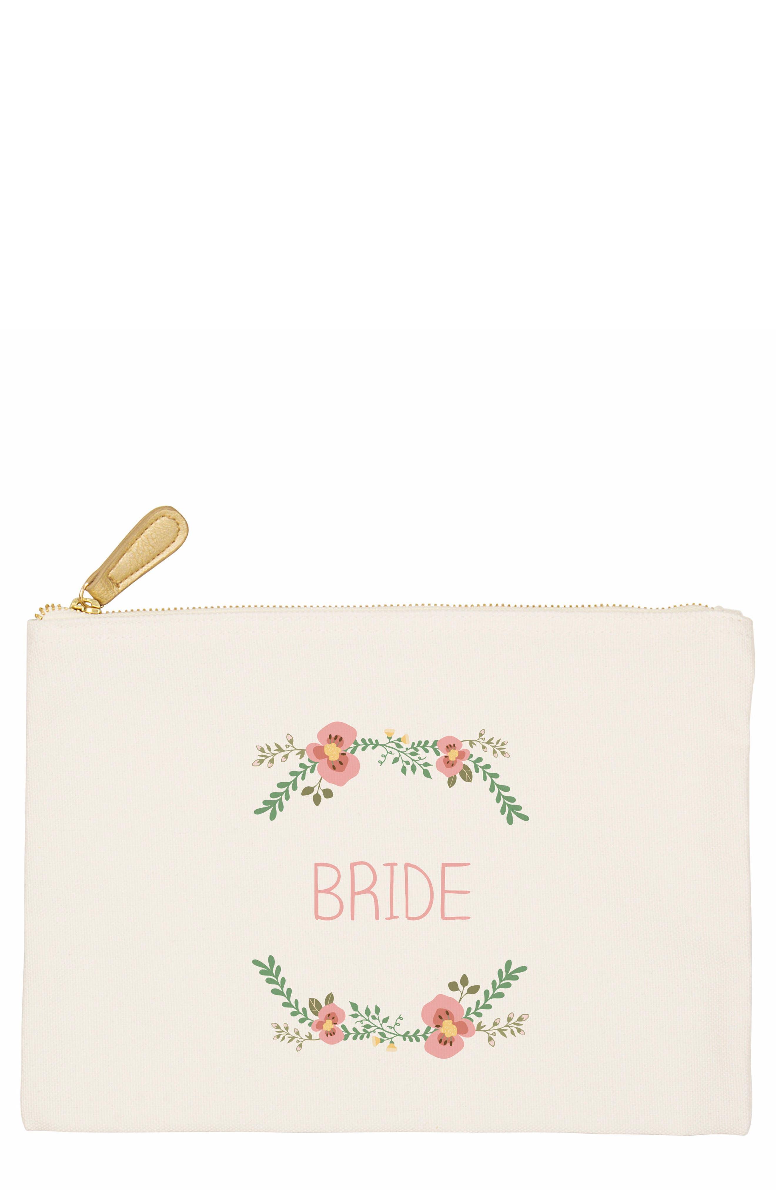 Bridesmaid Canvas Pouch,                             Main thumbnail 1, color,                             100