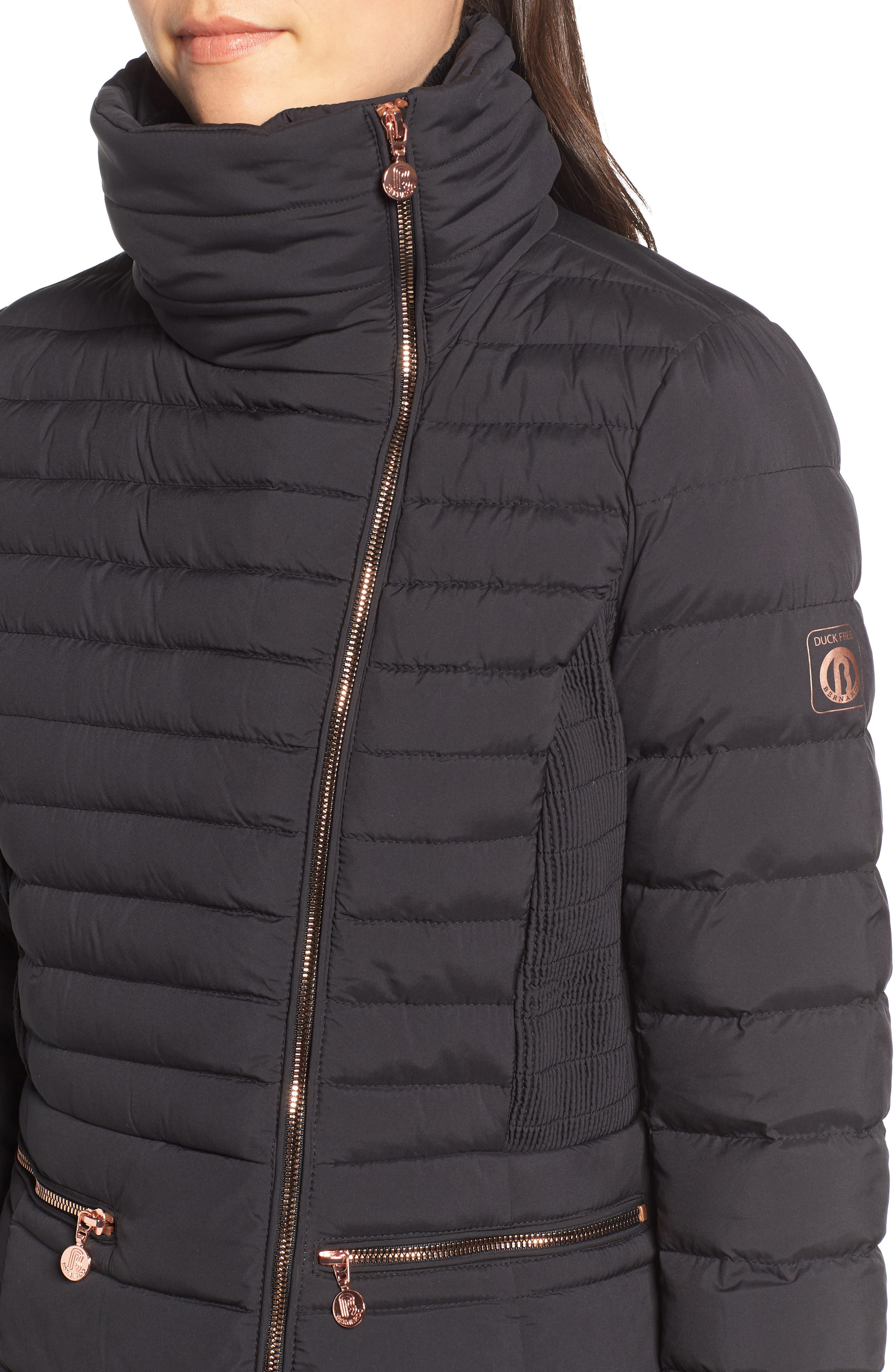 Asymmetrical Water Resistant Quilted Jacket,                             Alternate thumbnail 4, color,                             001