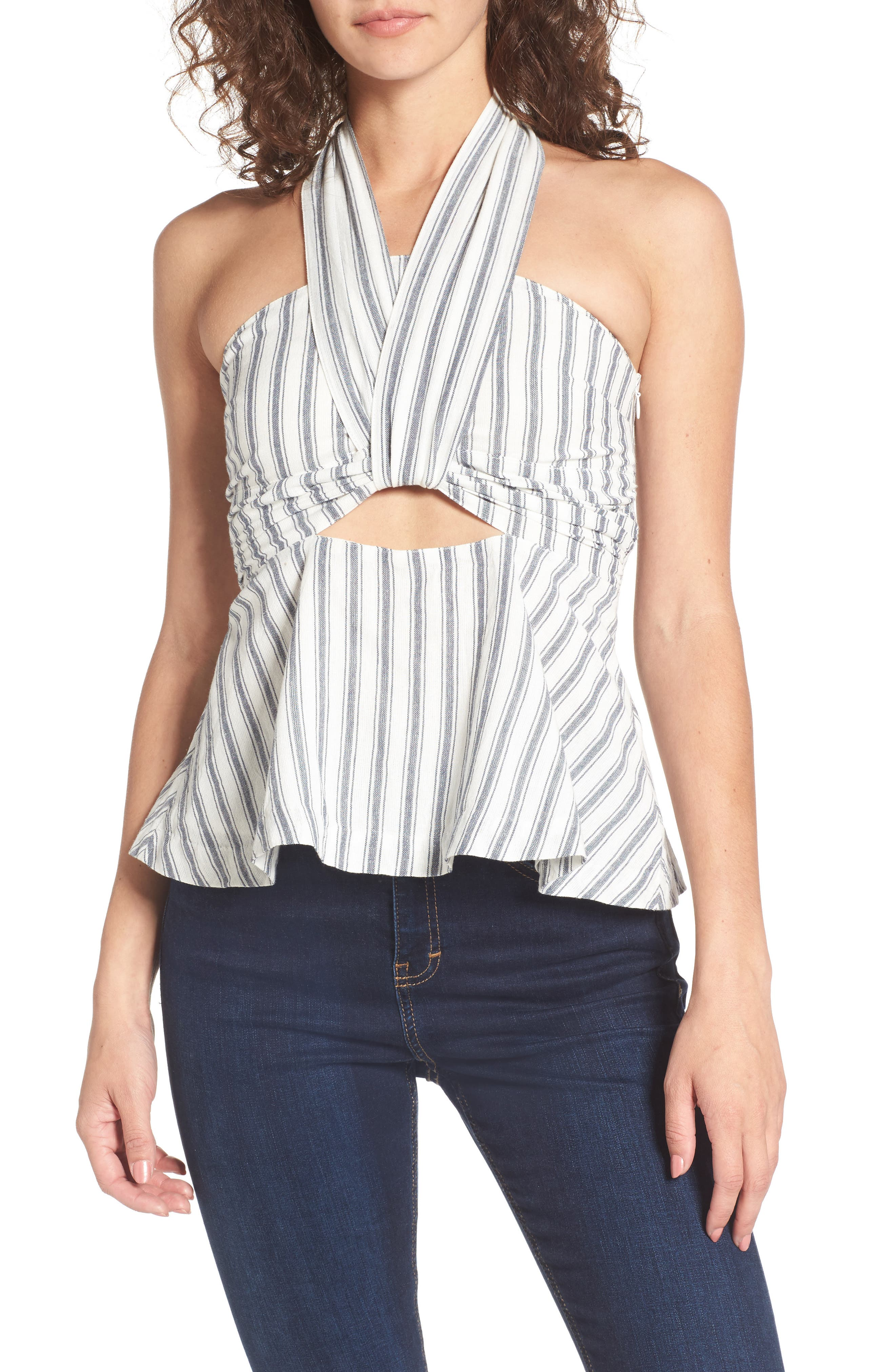 Darby Stripe Halter Top,                             Main thumbnail 1, color,                             900