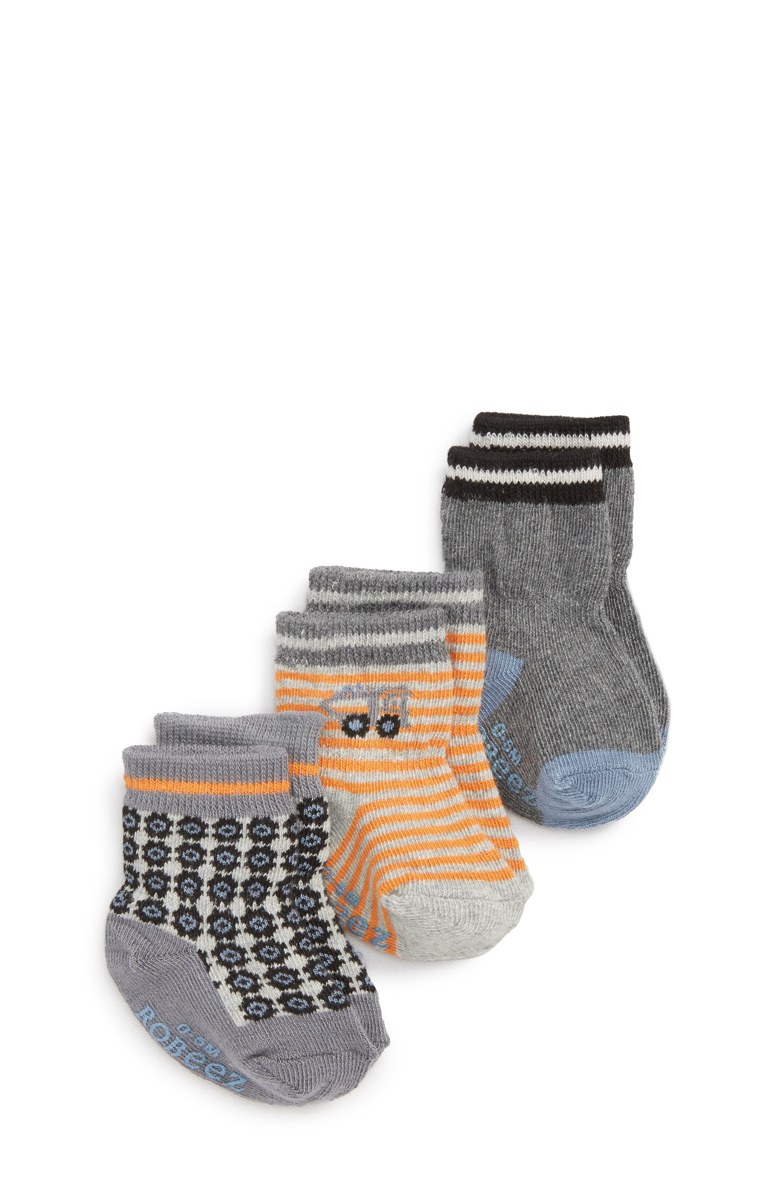 Gravel & Gears 3-Pack Socks,                             Main thumbnail 1, color,                             GREY/ ORANGE/ BLUE