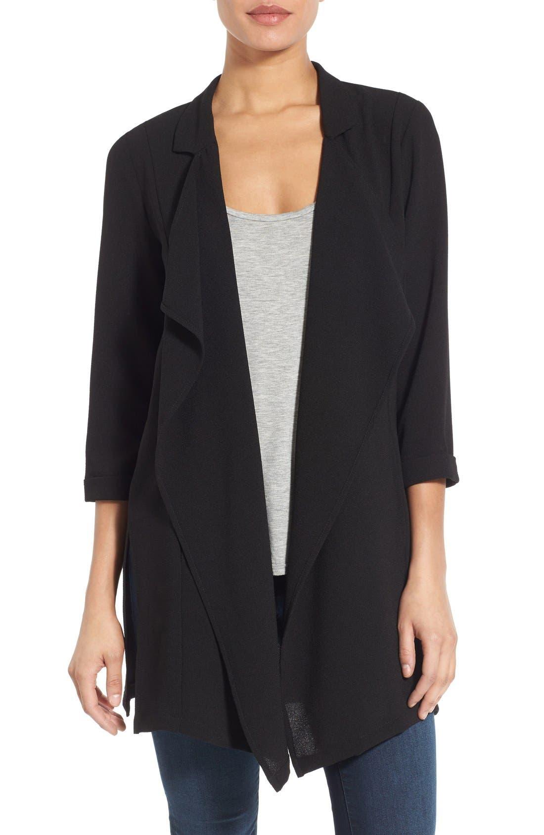Drape Front Long Jacket, Main, color, 016