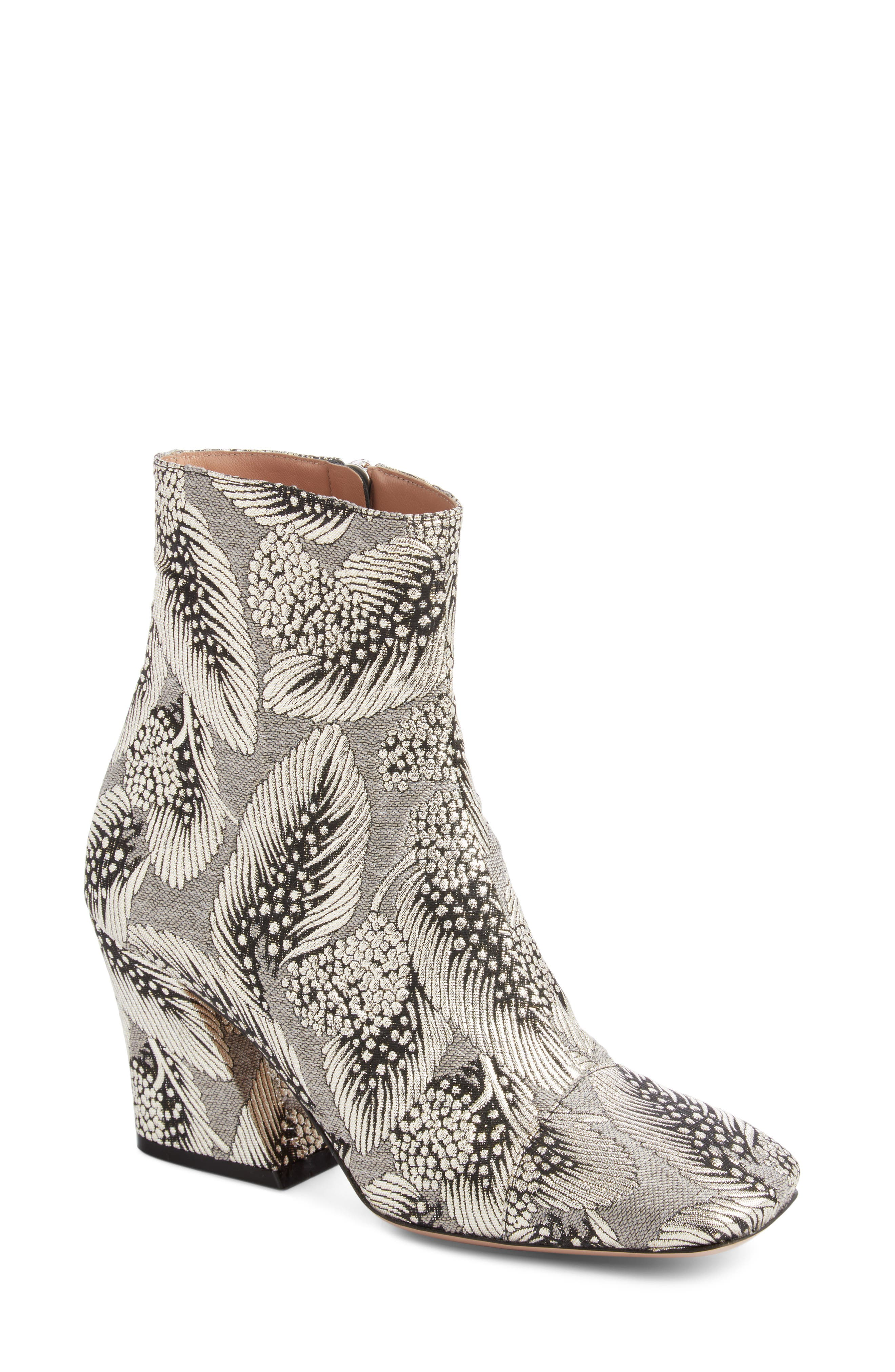 Leaf Print Angle Heel Bootie,                             Main thumbnail 1, color,