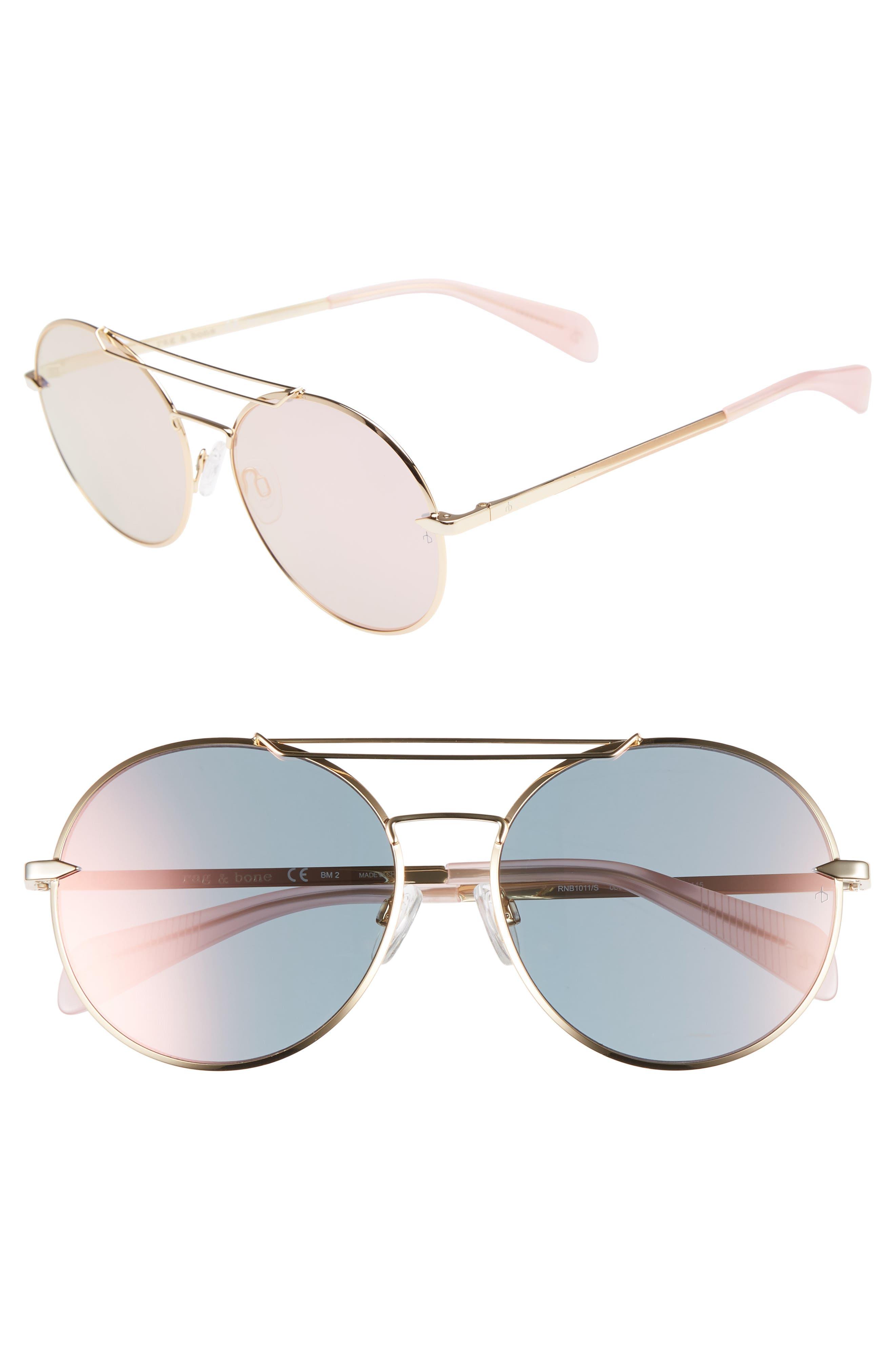 59mm Round Metal Aviator Sunglasses,                         Main,                         color, ROSE GOLD