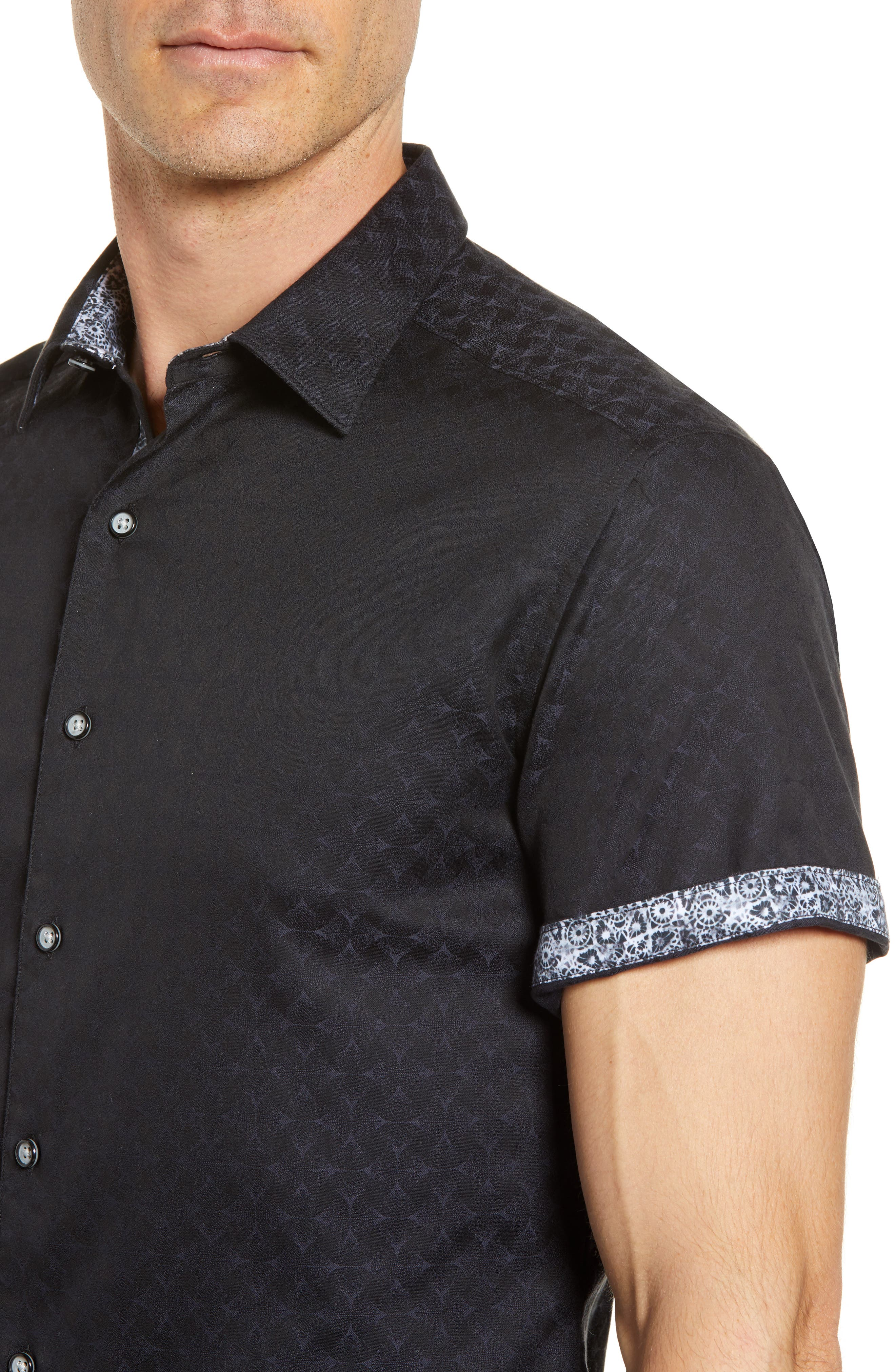 Diamante Classic Fit Sport Shirt,                             Alternate thumbnail 4, color,                             BLACK