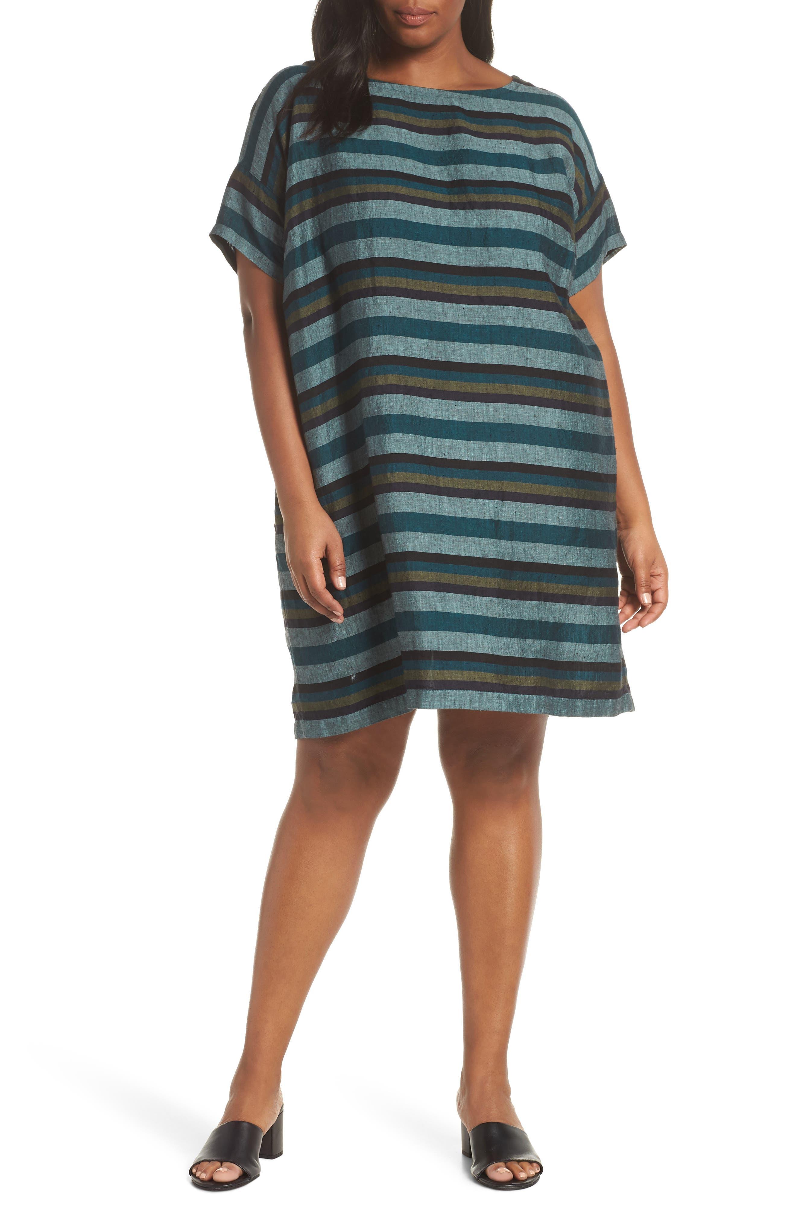 Plus Size Eileen Fisher Stripe Organic Cotton Shift Dress, Blue/green