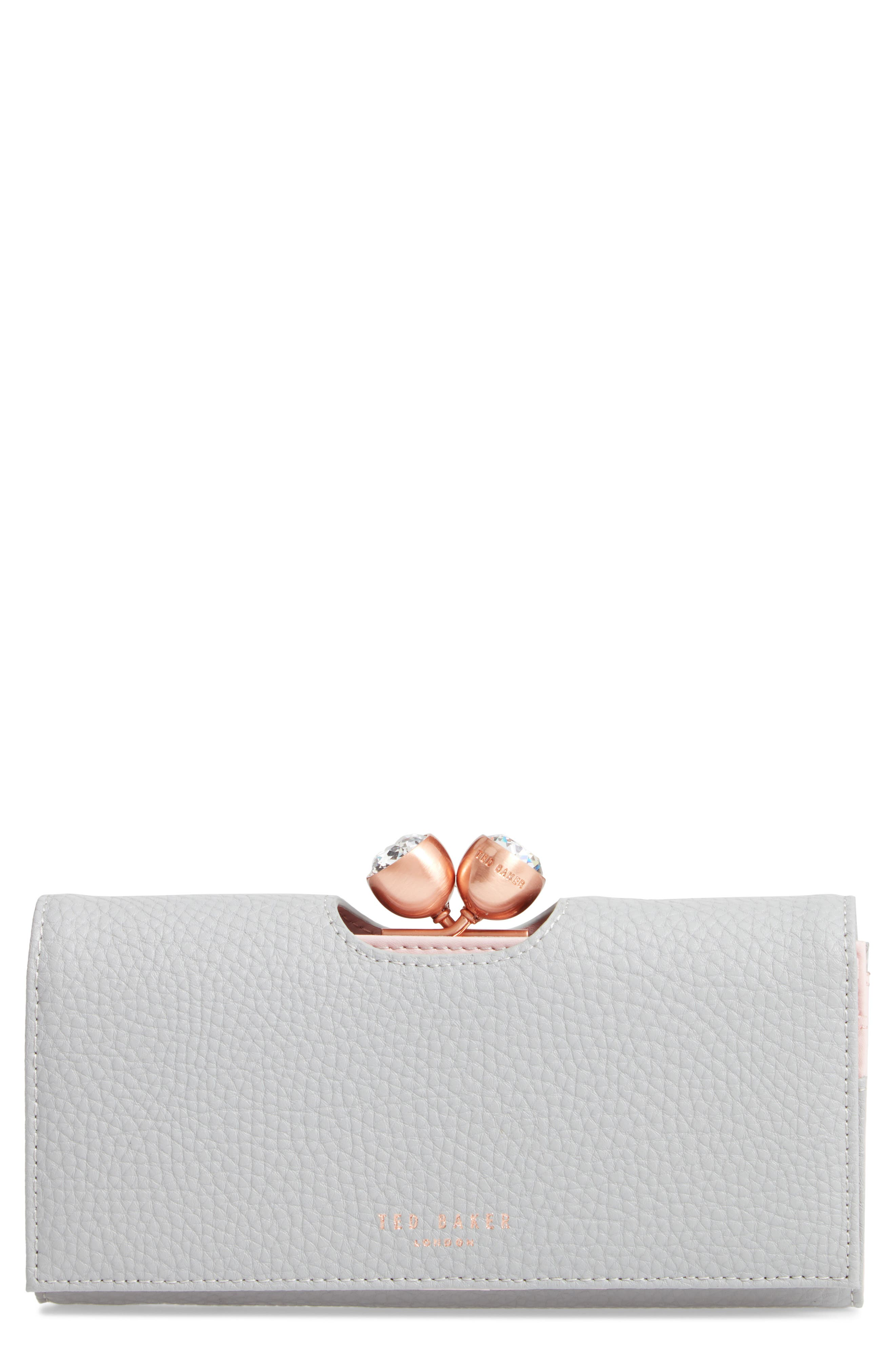 Pebbled Leather Matinée Wallet,                         Main,                         color, GREY