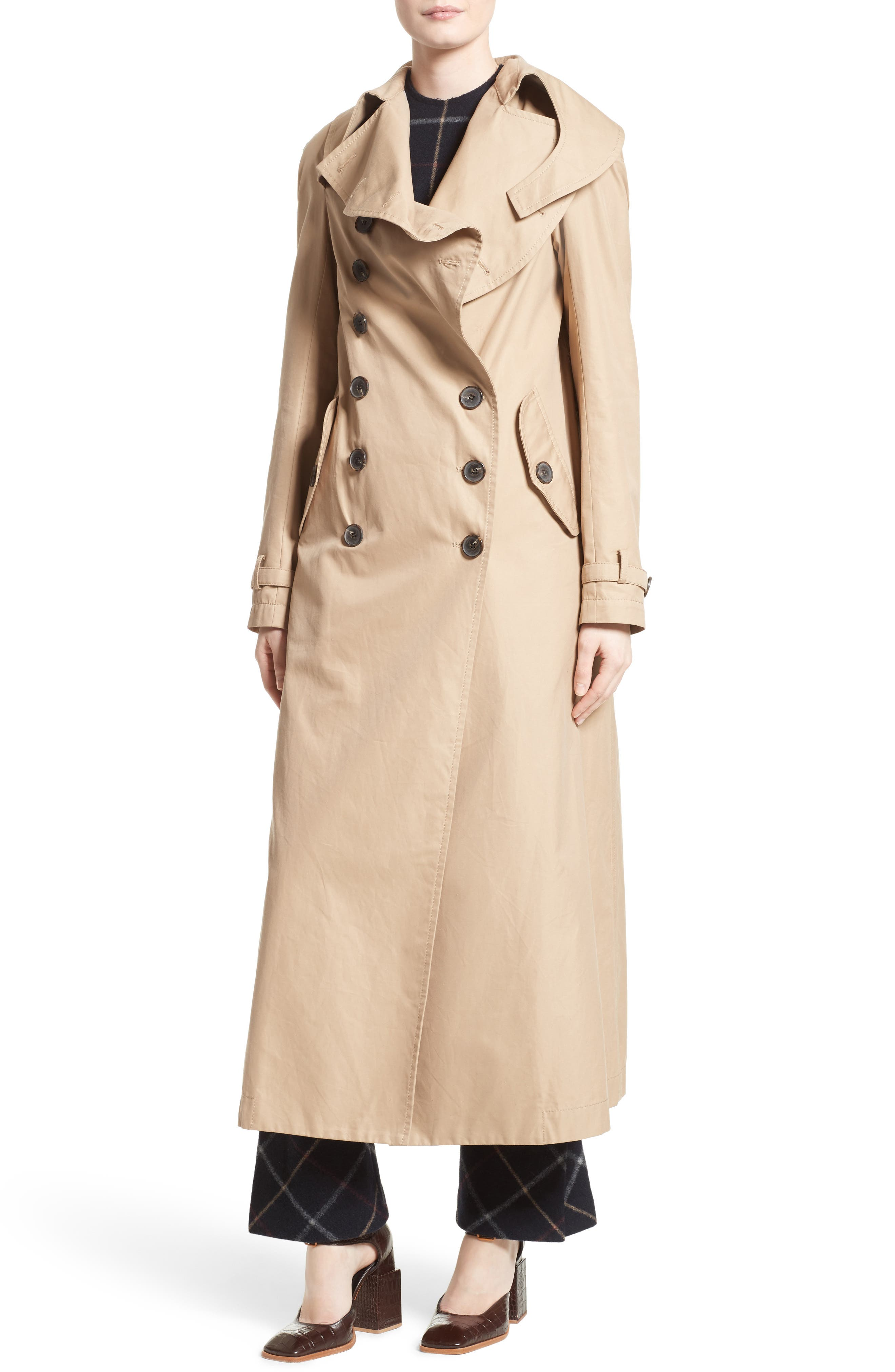 A.W.A.K.E.,                             Oversized Cotton Trench Coat,                             Alternate thumbnail 4, color,                             250