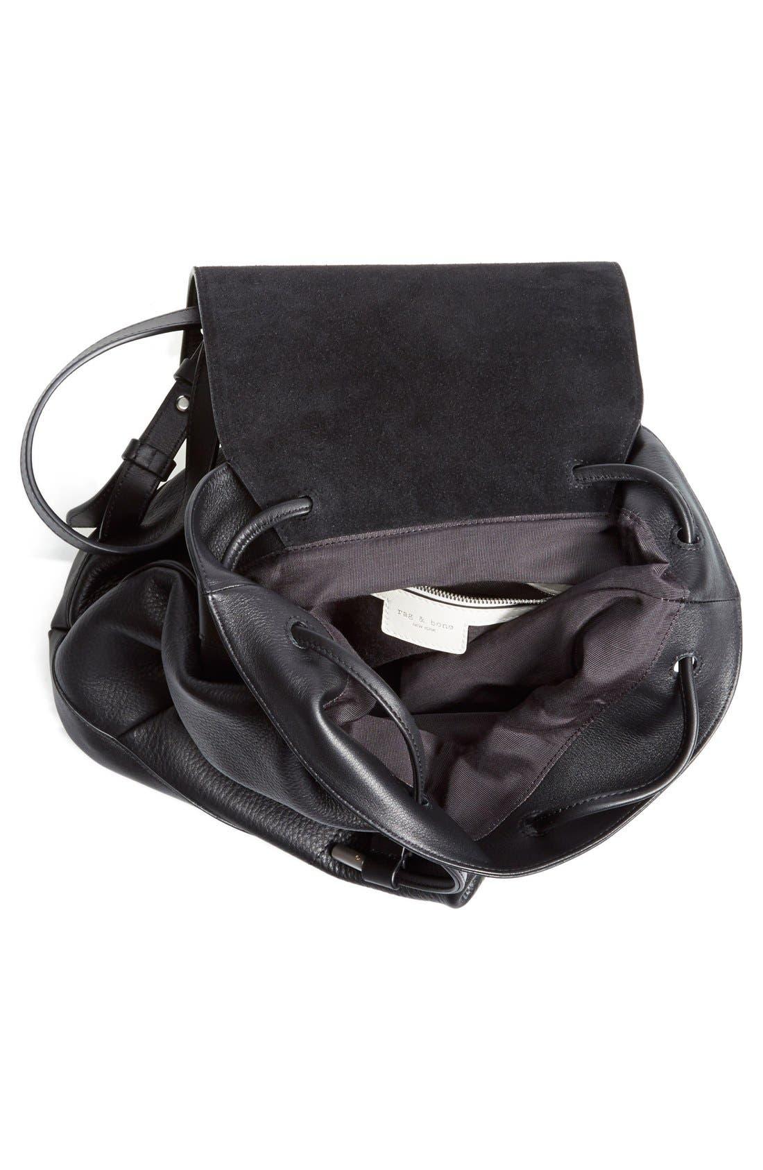 RAG & BONE,                             'Pilot' Leather Backpack,                             Alternate thumbnail 5, color,                             001