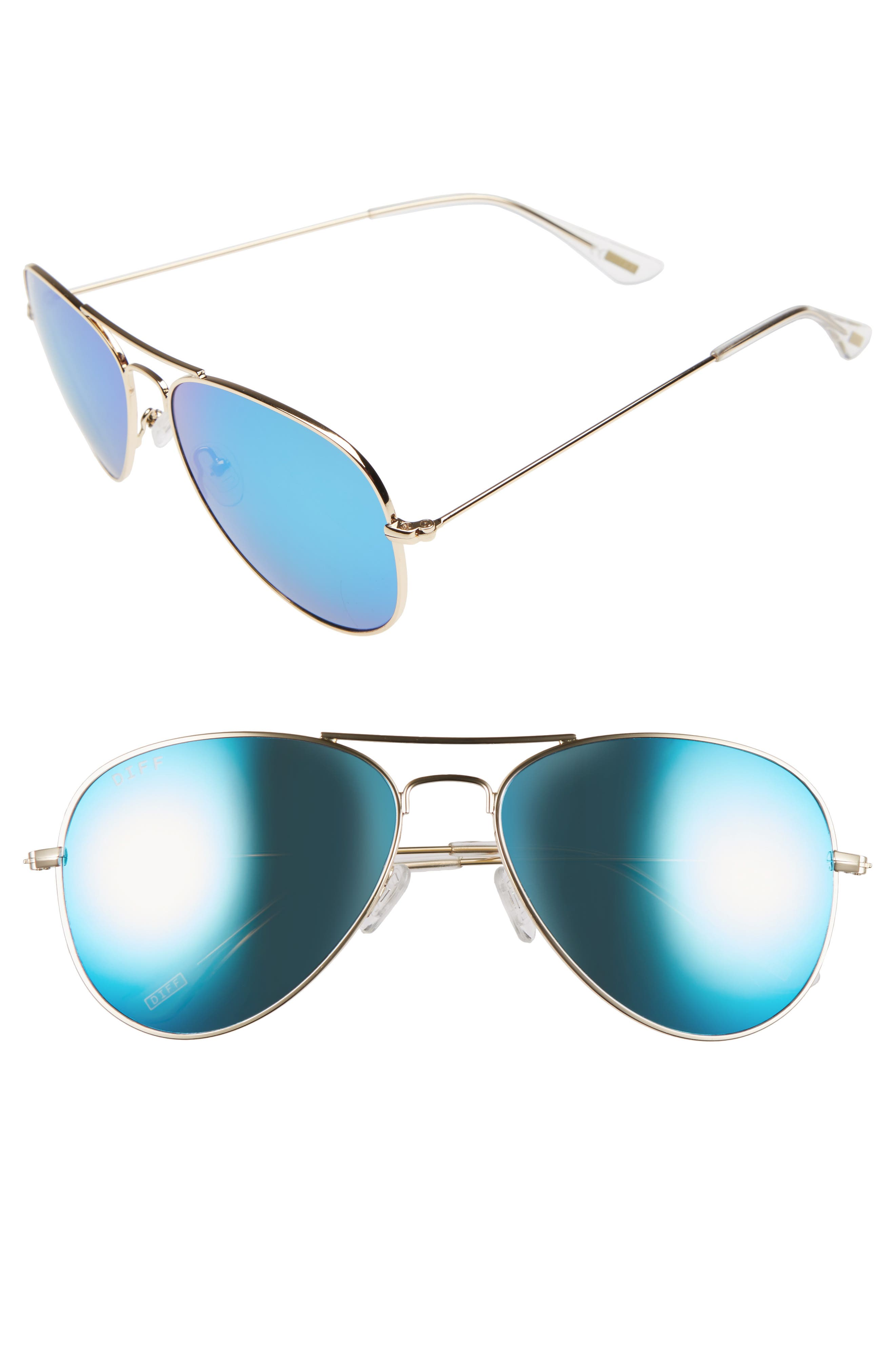 Cruz 57mm Metal Aviator Sunglasses,                         Main,                         color, GOLD/ BLUE