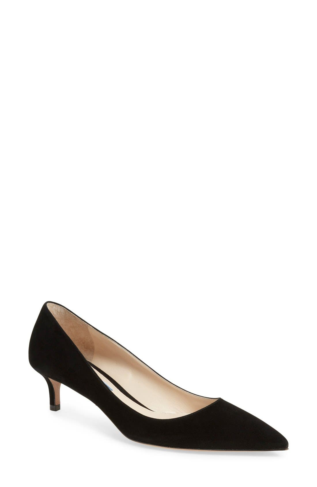 Pointy Toe Pump,                             Main thumbnail 1, color,                             BLACK SUEDE