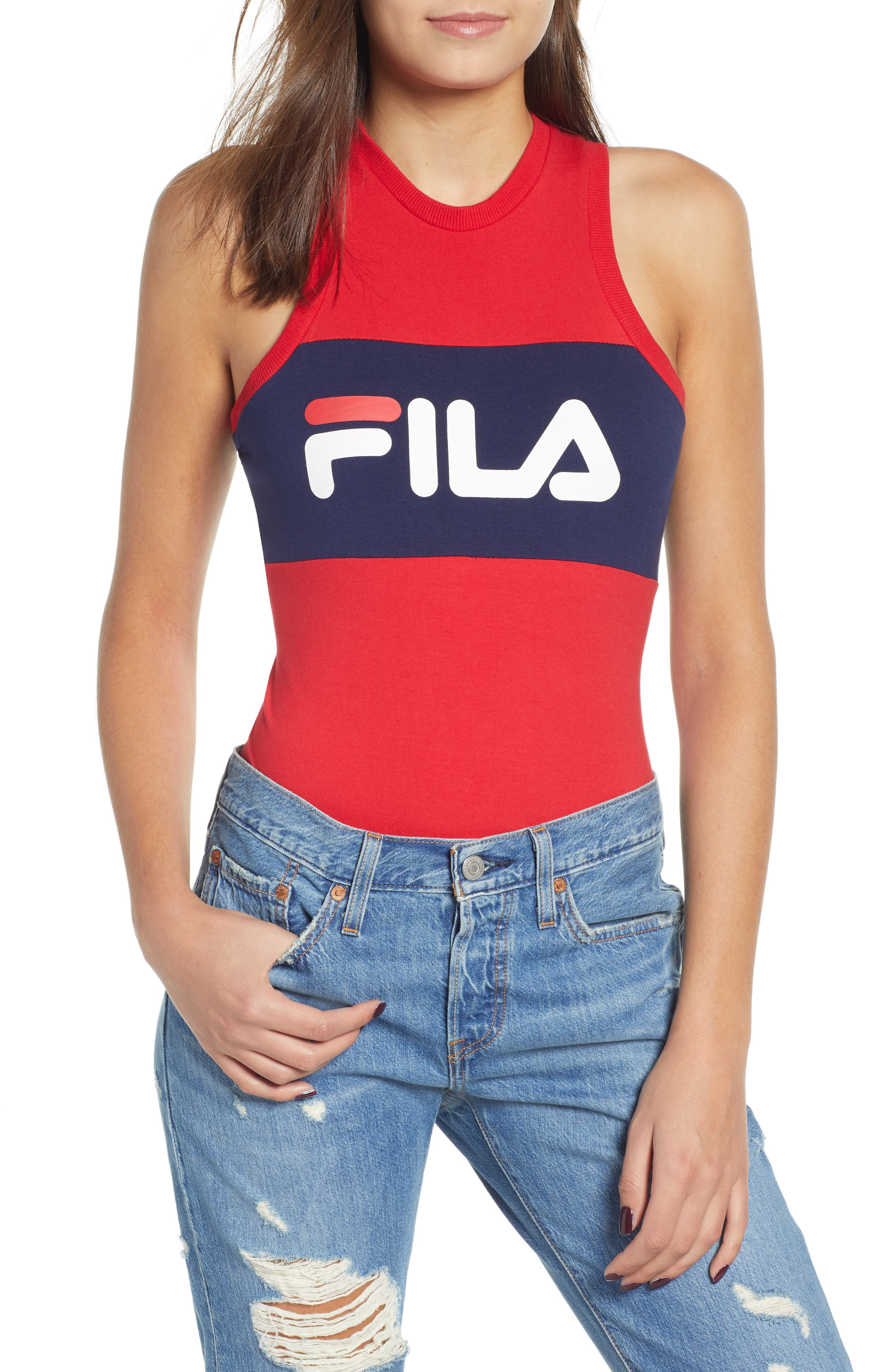 Riley Logo Tank Bodysuit, Main, color, CHINESE RED/ PEACOAT