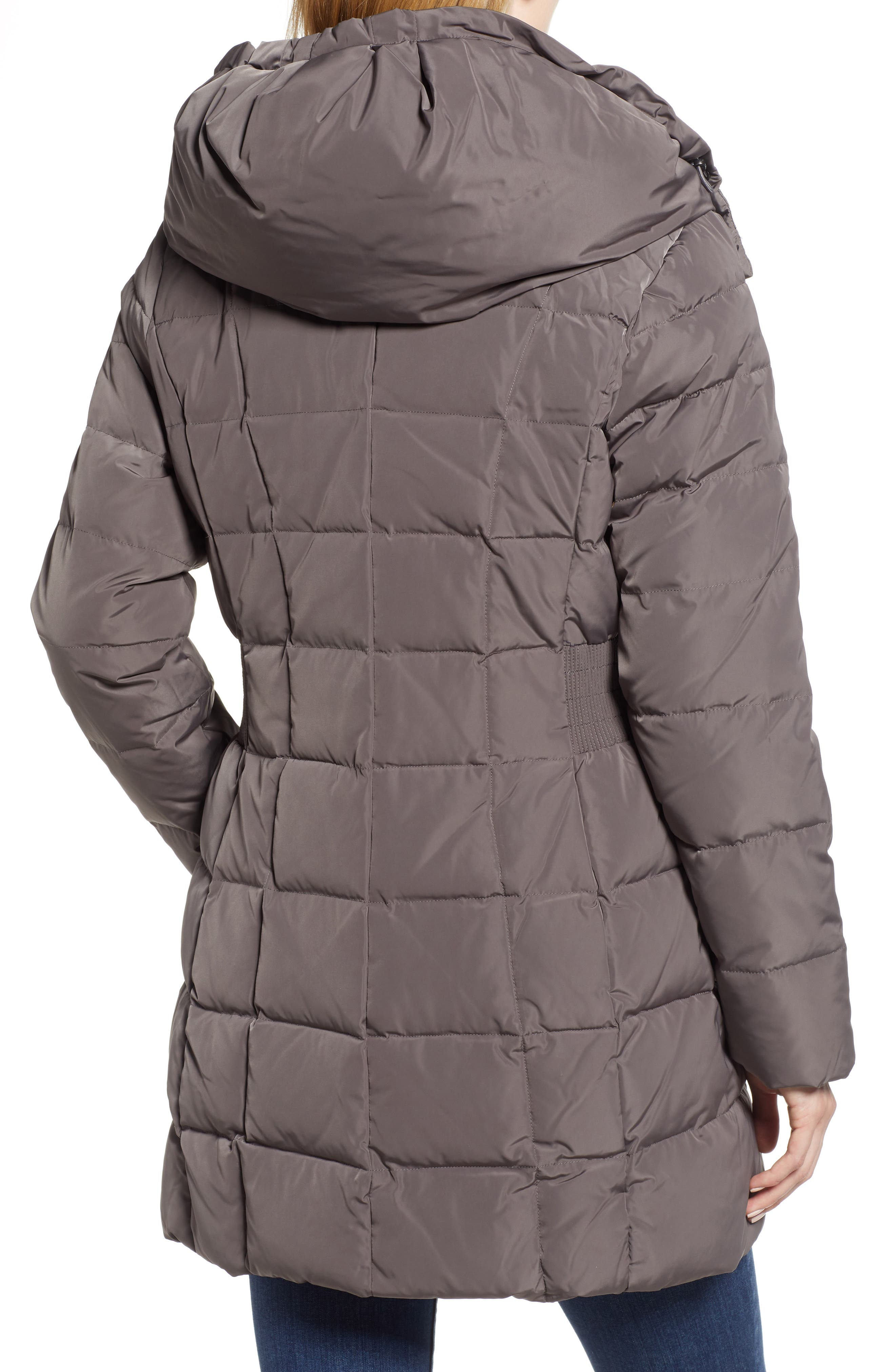 Cole Haan Hooded Down & Feather Jacket,                             Alternate thumbnail 2, color,                             CARBON