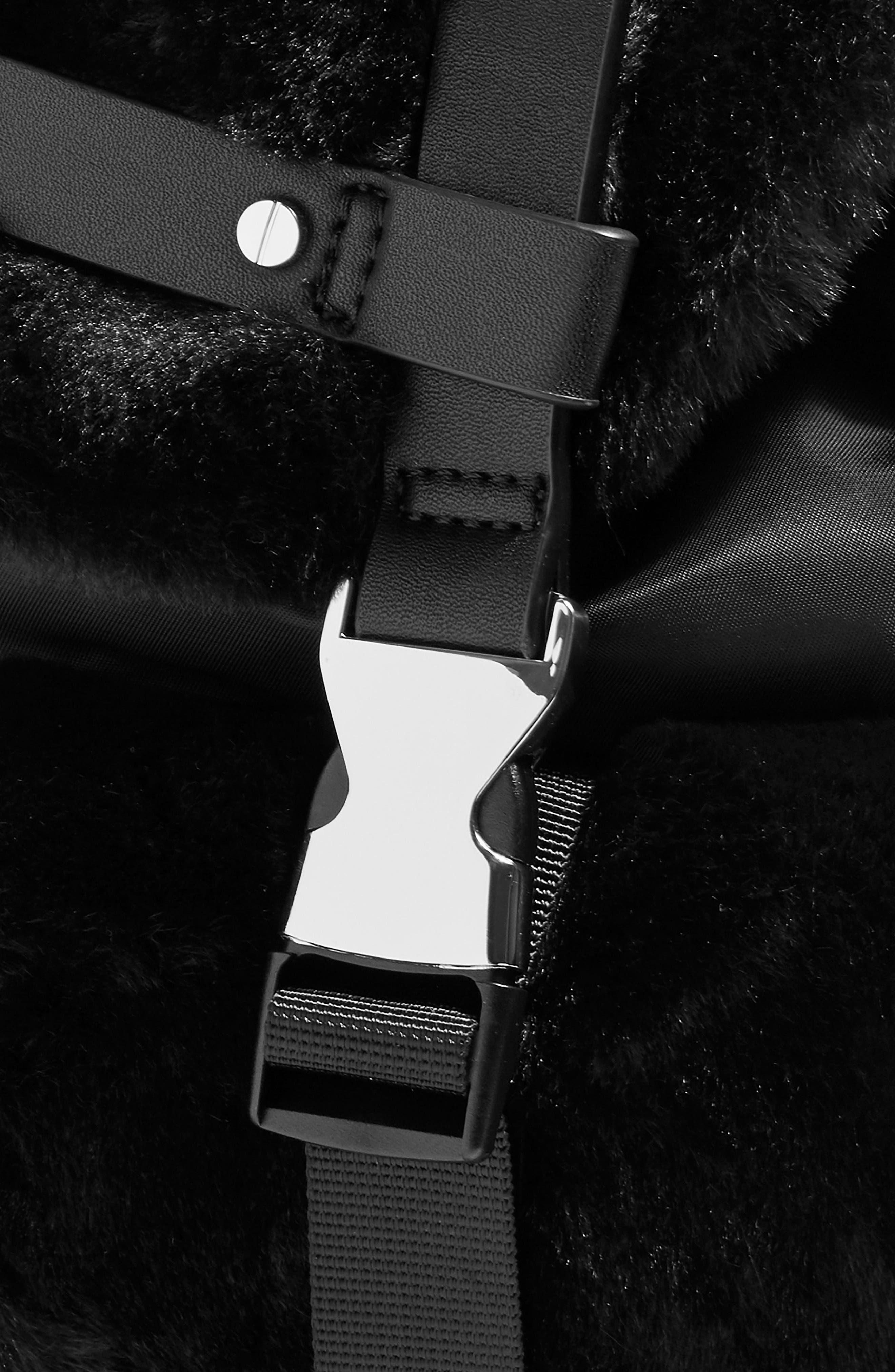 Boston Faux Fur Backpack,                             Alternate thumbnail 4, color,                             BLACK