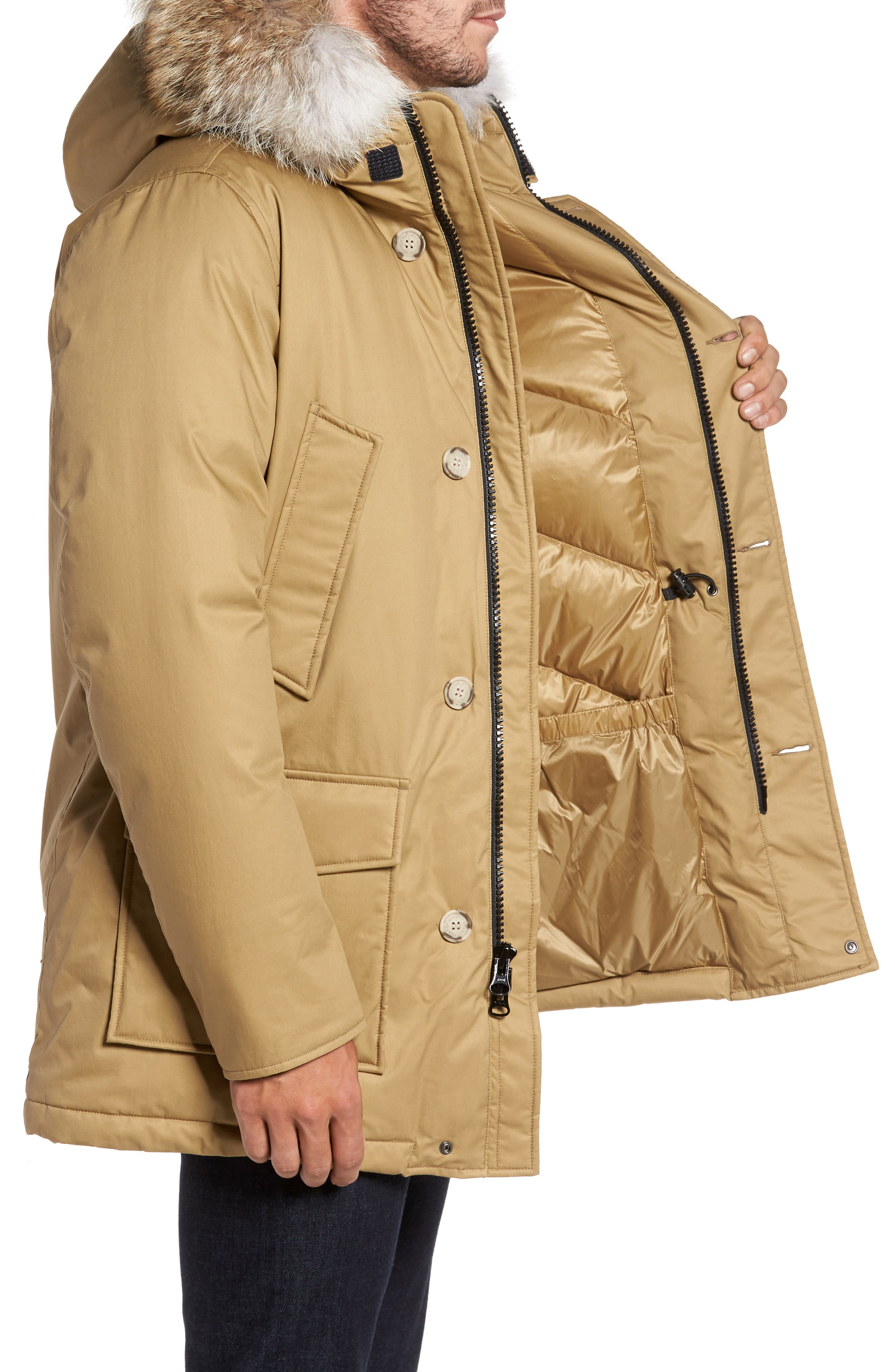John Rich & Bros. Laminated Cotton Down Parka with Genuine Coyote Fur Trim,                             Alternate thumbnail 6, color,