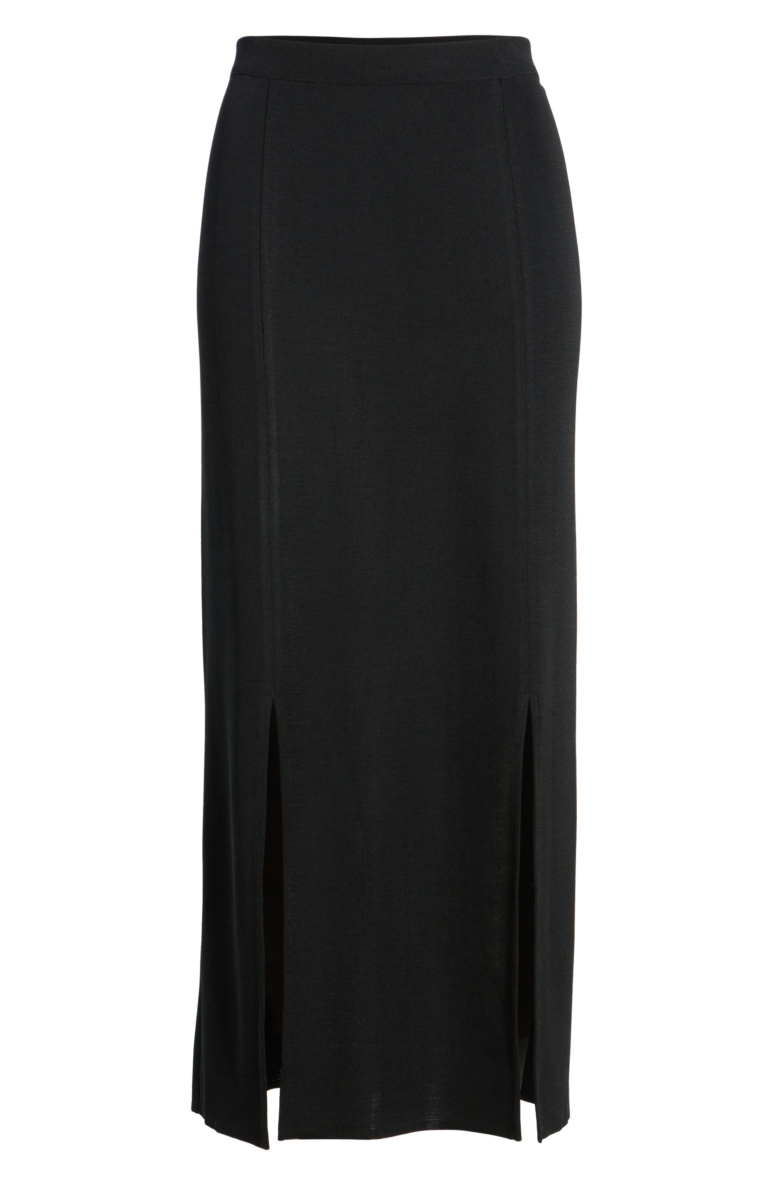 MING WANG,                             Double Slit Maxi Skirt,                             Alternate thumbnail 6, color,                             001