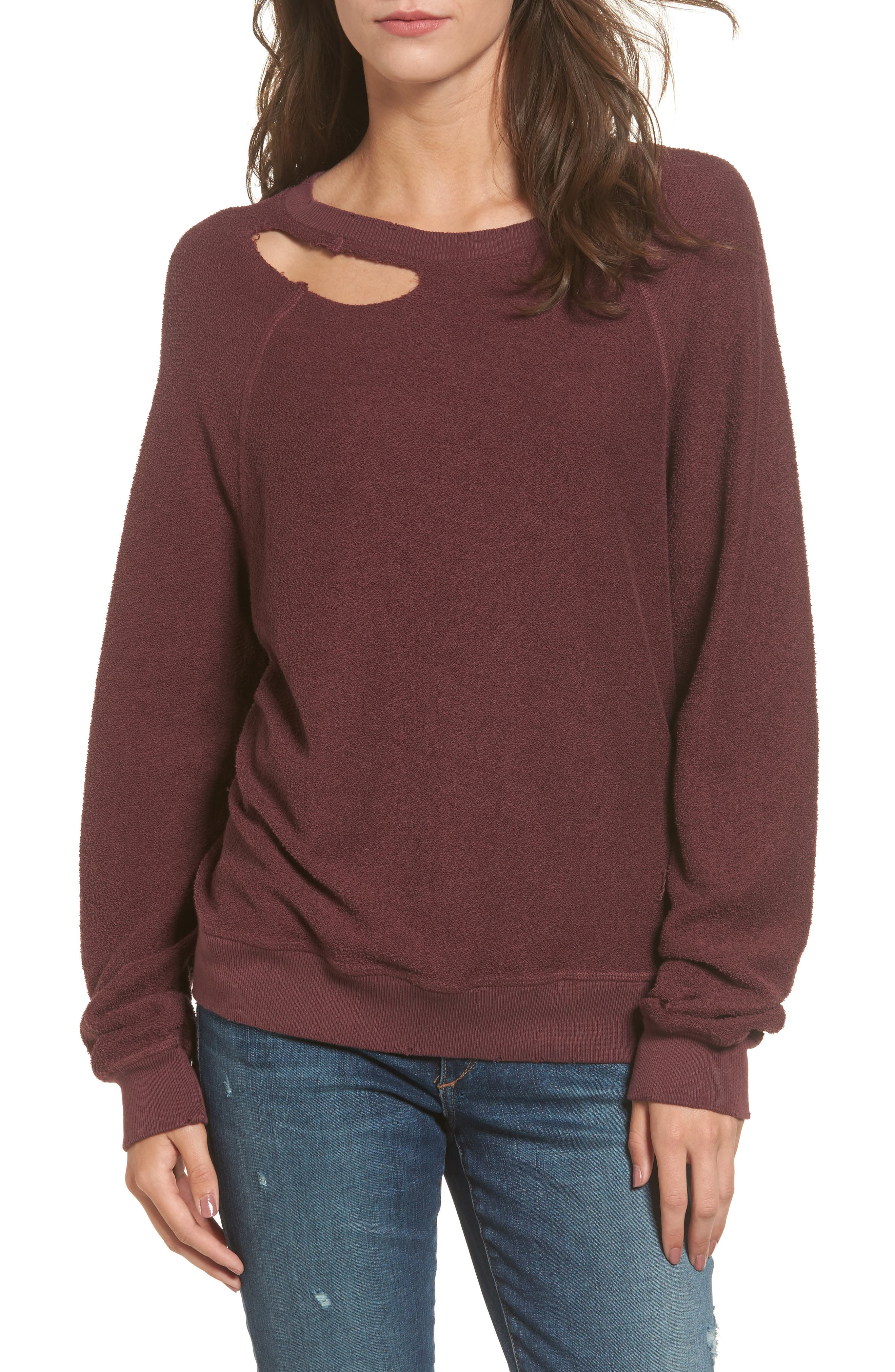Holden Reverse Distressed Sweatshirt,                             Main thumbnail 1, color,                             930