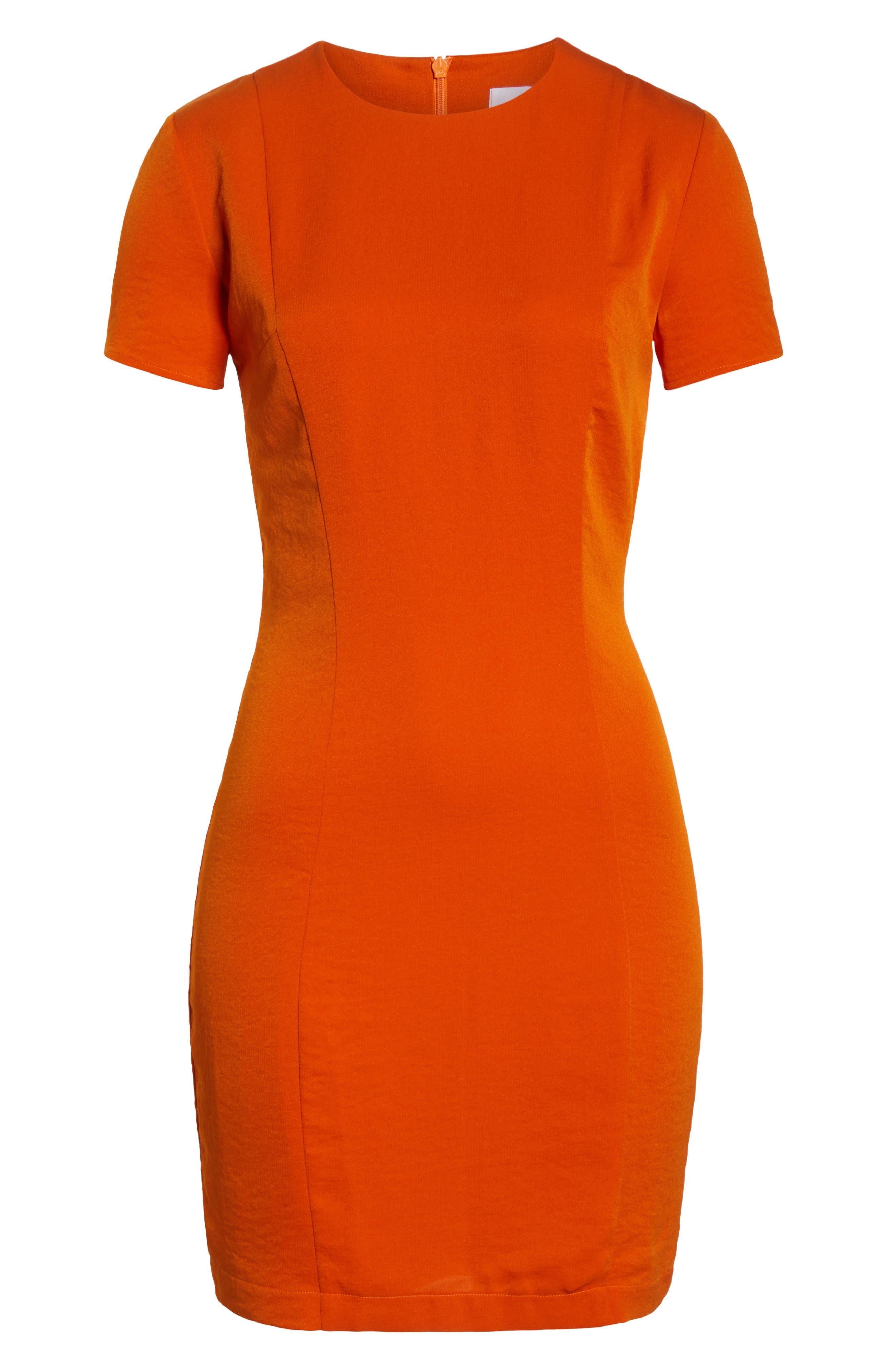 Sofia Short Sleeve Sheath Dress,                             Alternate thumbnail 7, color,                             ORANGE