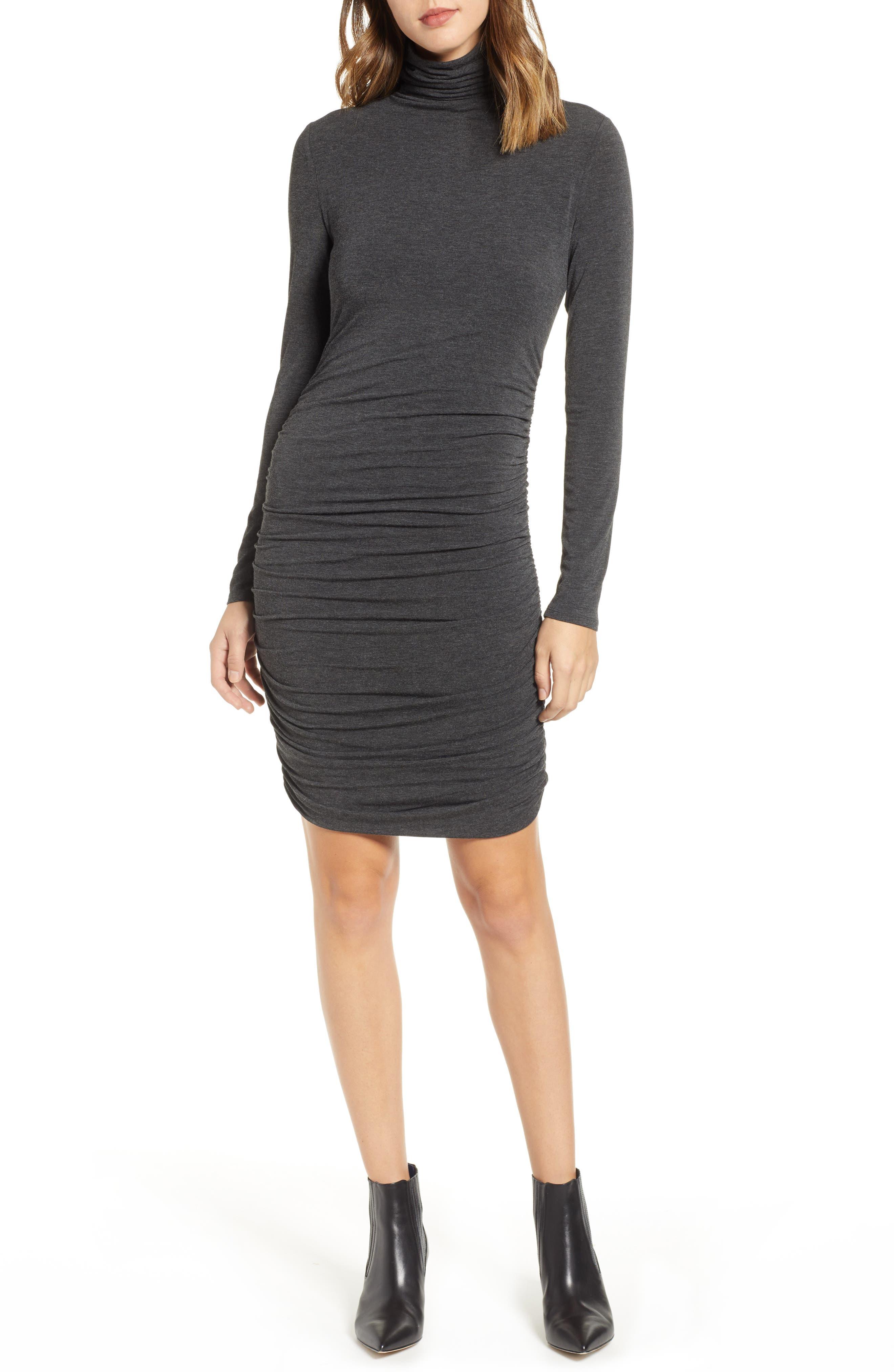 Halogen Side Ruched Turtleneck Dress, Grey