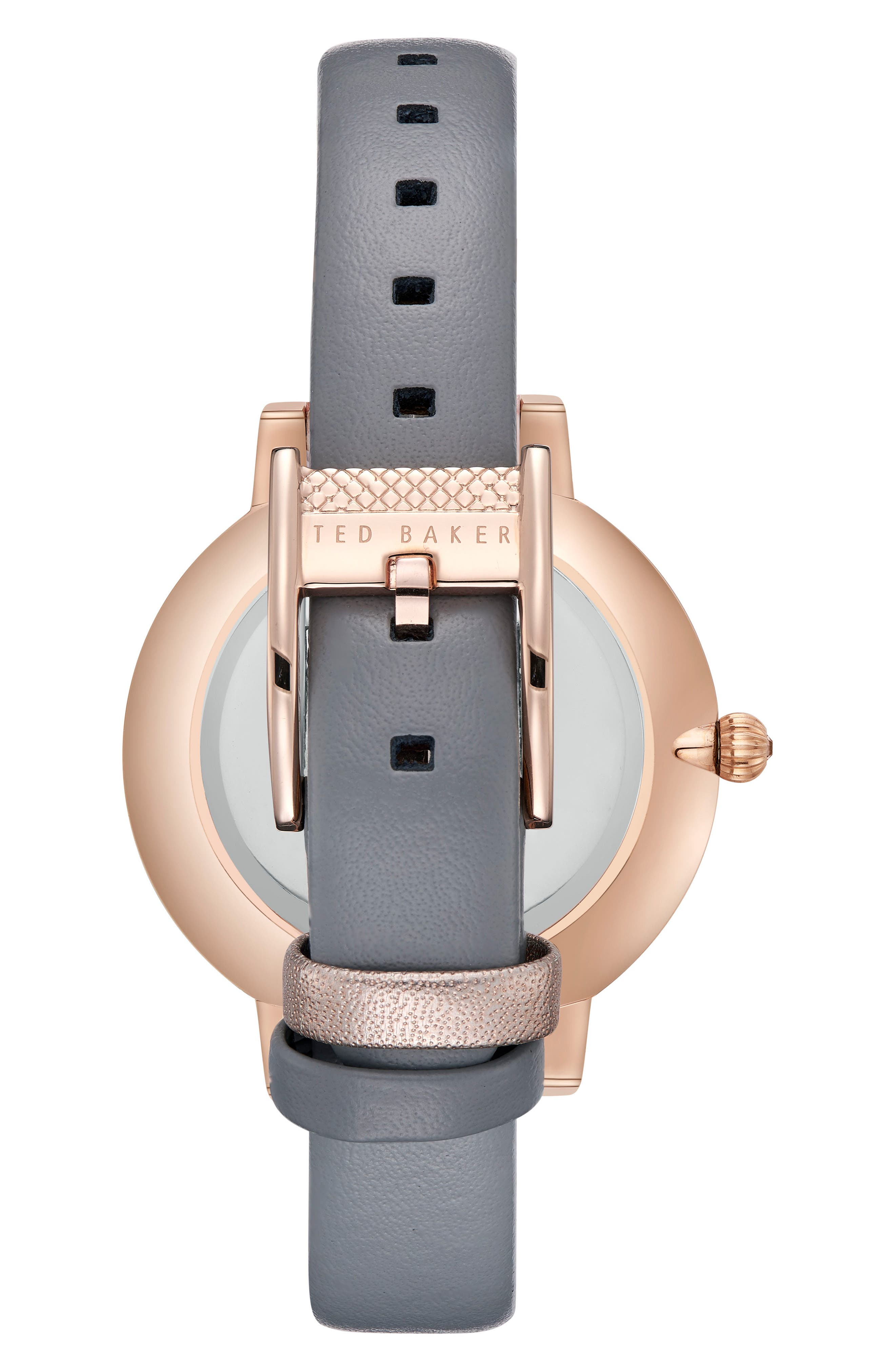 Kate Leather Strap Watch, 38mm,                             Alternate thumbnail 2, color,                             GREY/ MOP/ ROSE GOLD
