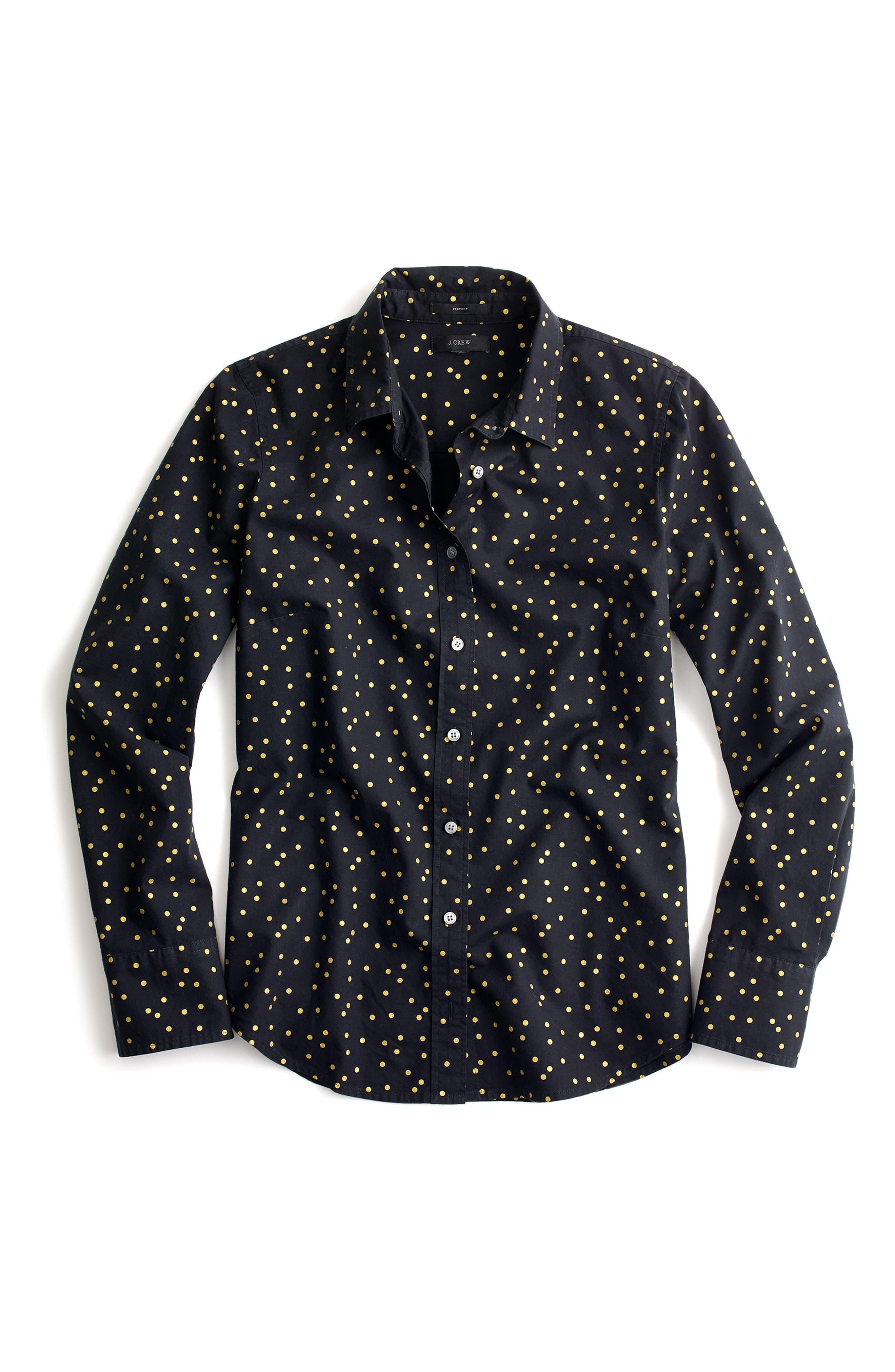 Heather Flannel Foil Dot Perfect Shirt,                             Alternate thumbnail 2, color,                             090