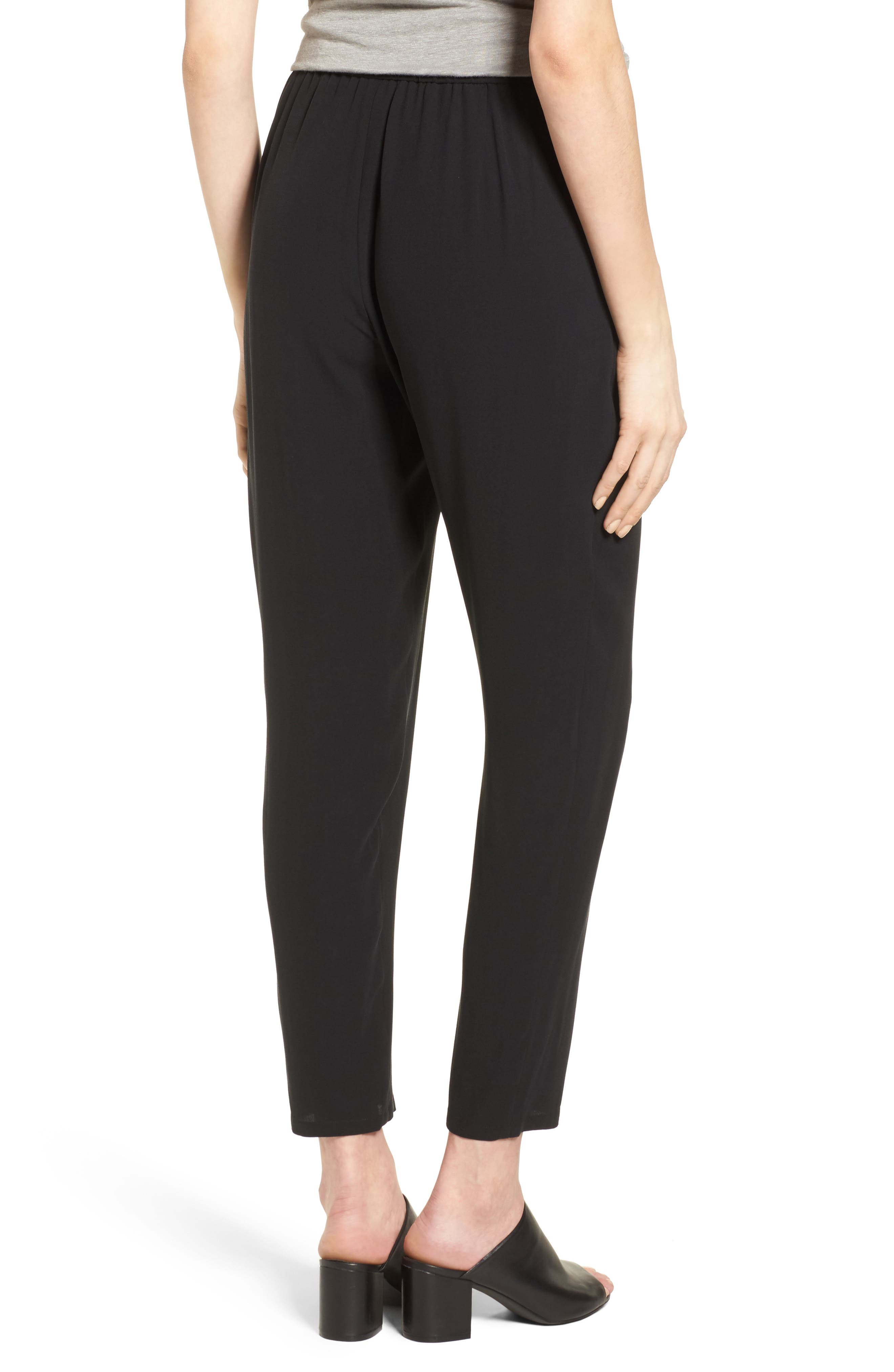 EILEEN FISHER,                             Silk Crop Pants,                             Alternate thumbnail 2, color,                             BLACK