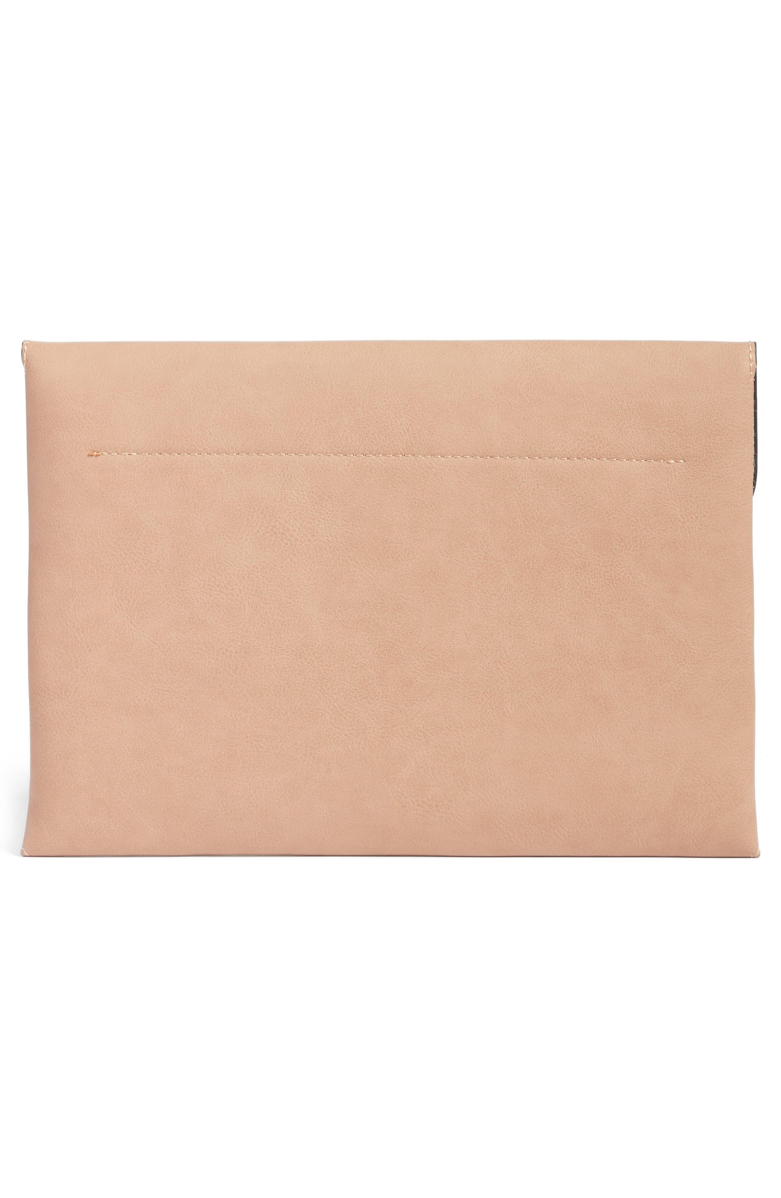 Karen Faux Leather Envelope Clutch,                             Alternate thumbnail 8, color,