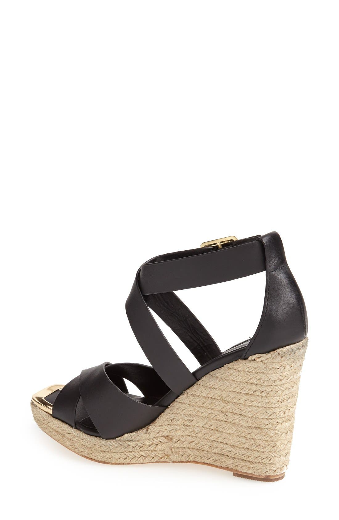 'Olympia' Wedge Sandal,                             Alternate thumbnail 4, color,                             001