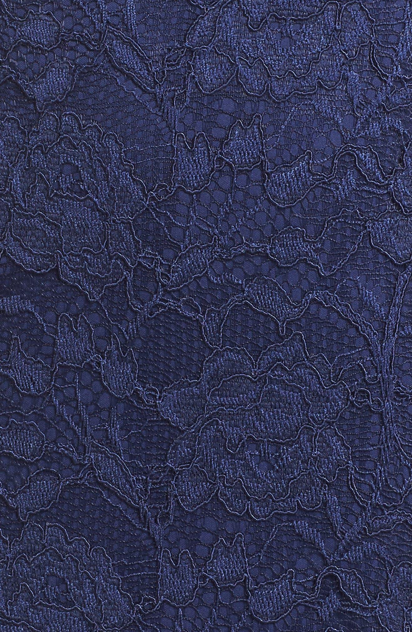 Rose Lace Sheath Dress,                             Alternate thumbnail 5, color,                             412
