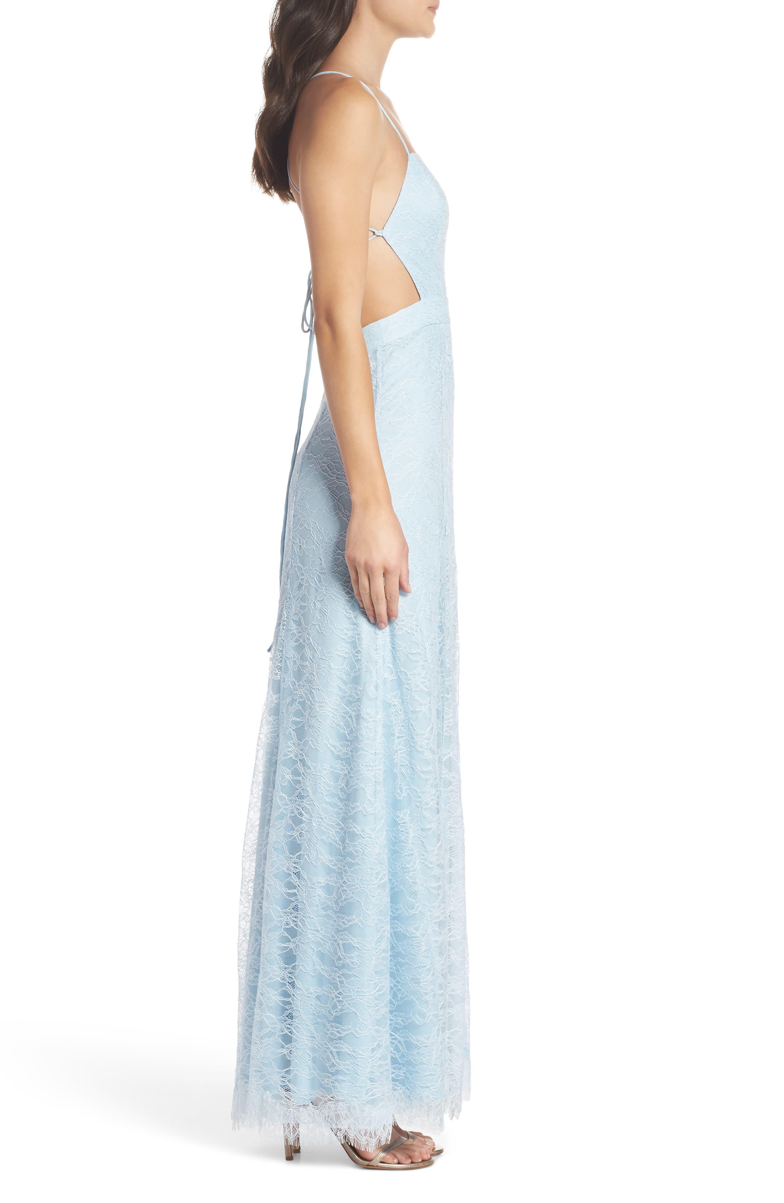 The Adella Lace Gown,                             Alternate thumbnail 3, color,                             PALE BLUE