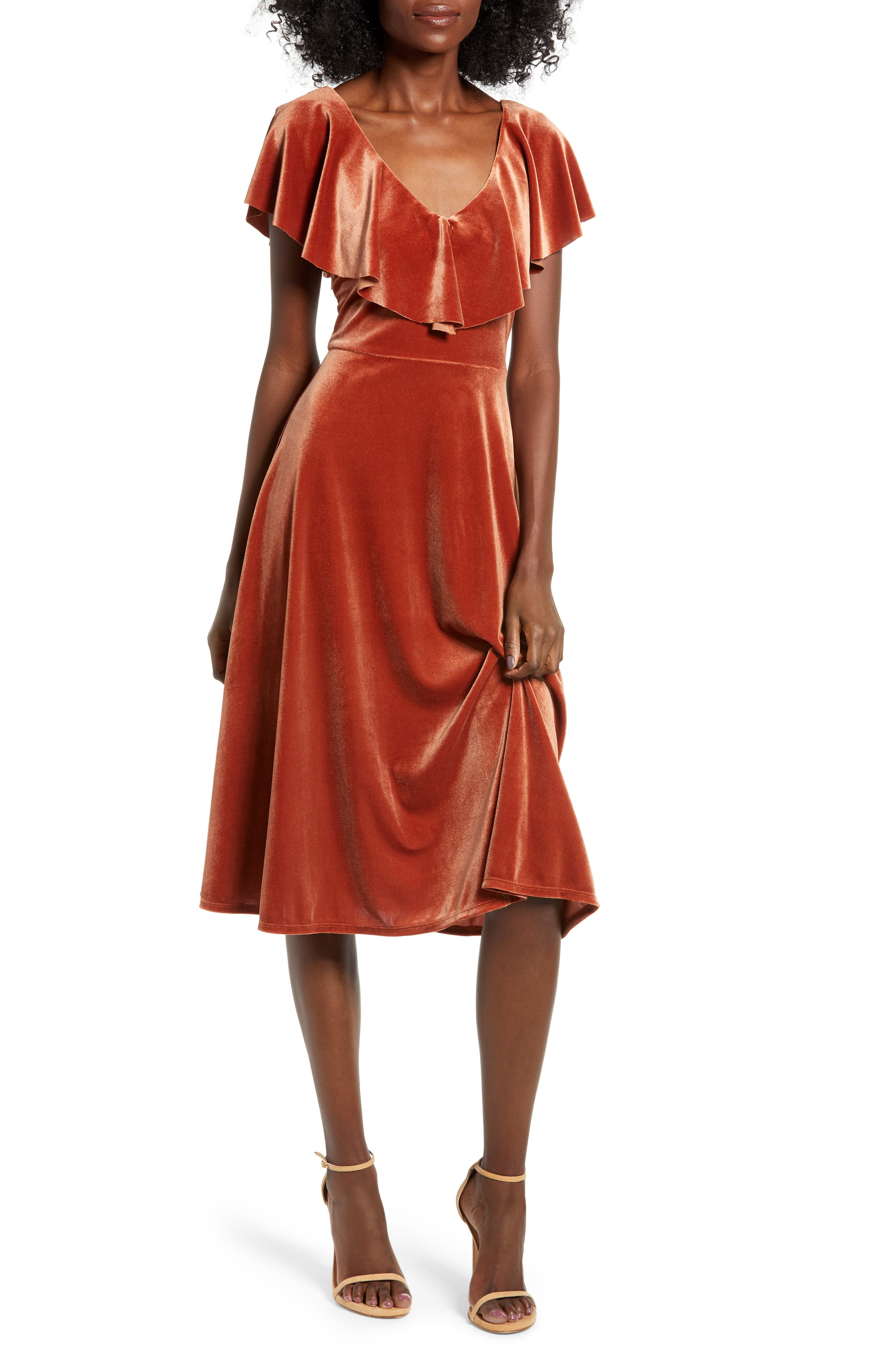 Ruffle Midi Dress,                             Main thumbnail 1, color,                             205
