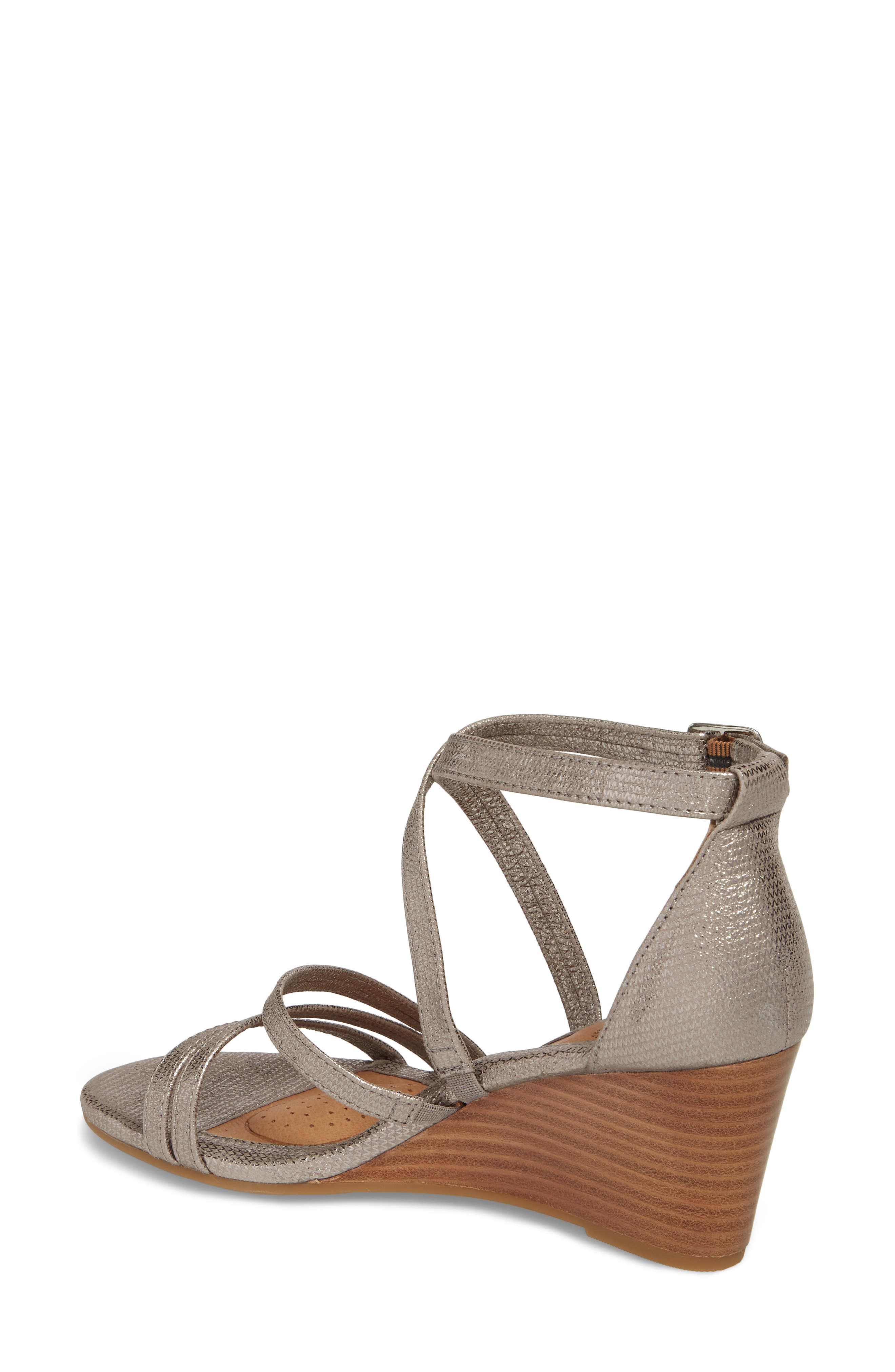 Mecina Wedge Sandal,                             Alternate thumbnail 2, color,                             SILVER METALLIC LEATHER