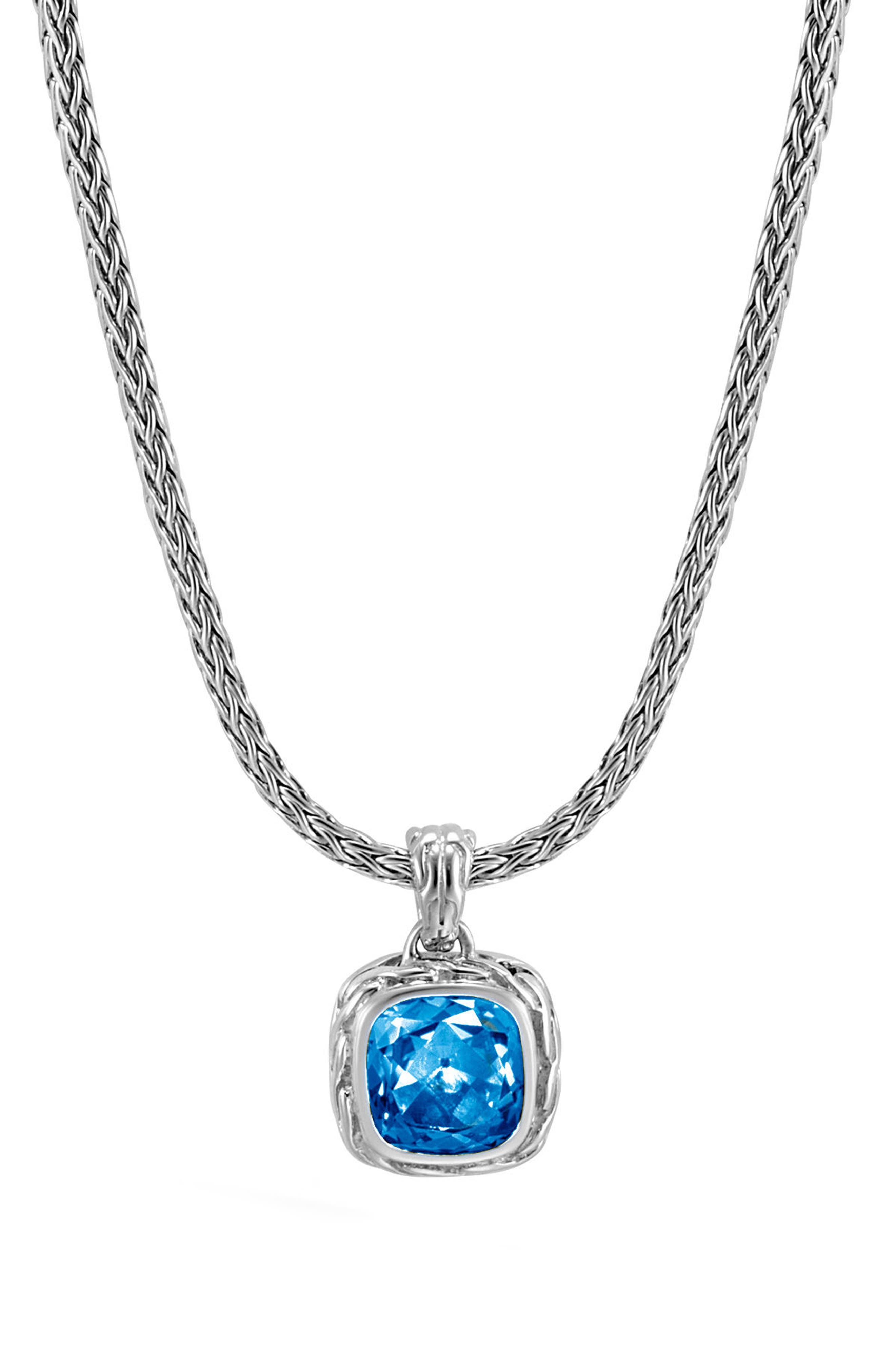 Magic Cut Blue Topaz Pendant Necklace,                             Main thumbnail 1, color,                             SILVER/ LONDON BLUE TOPAZ